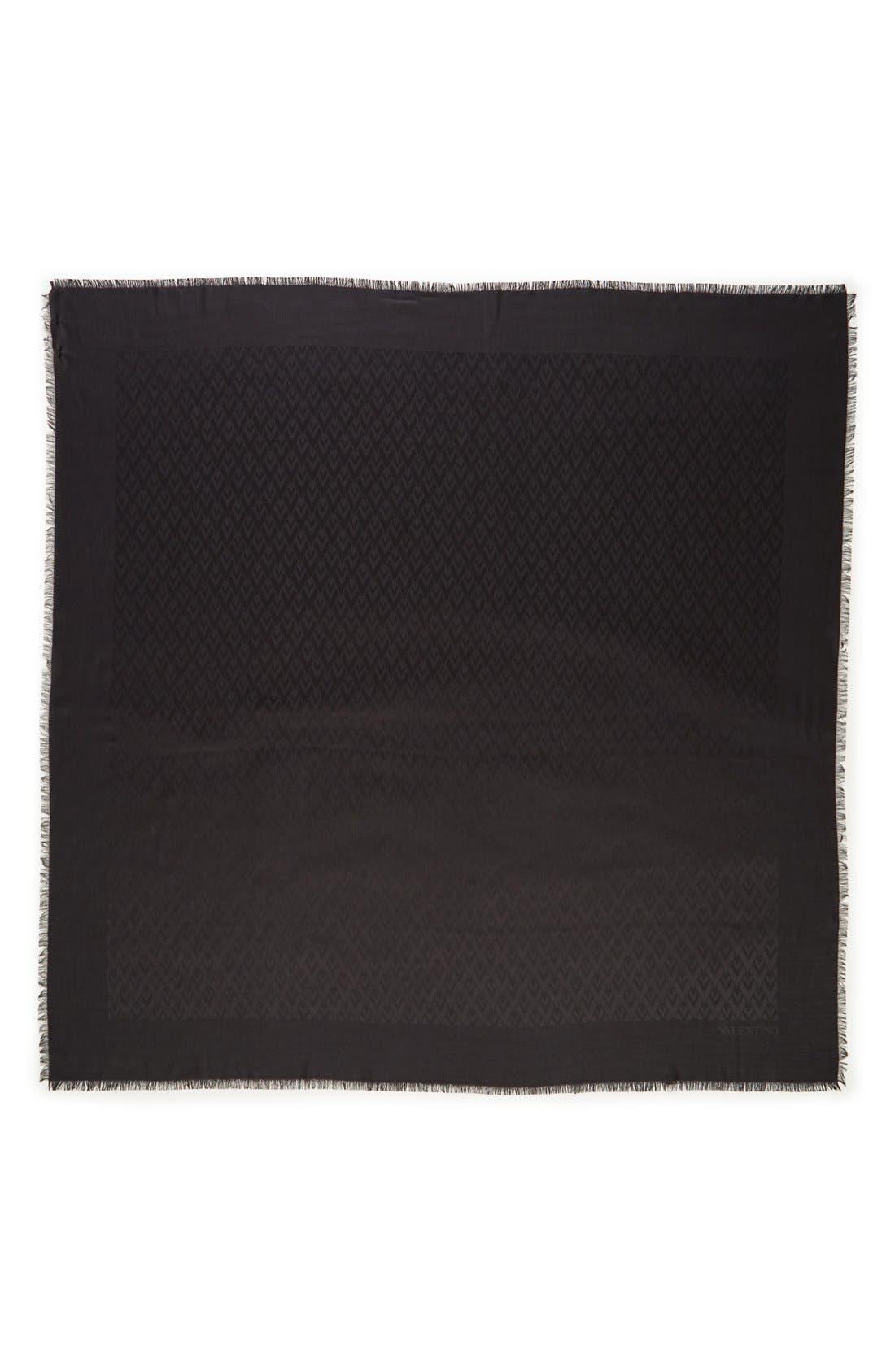 Valentino 'Viva' Wool & Silk Fringe Scarf