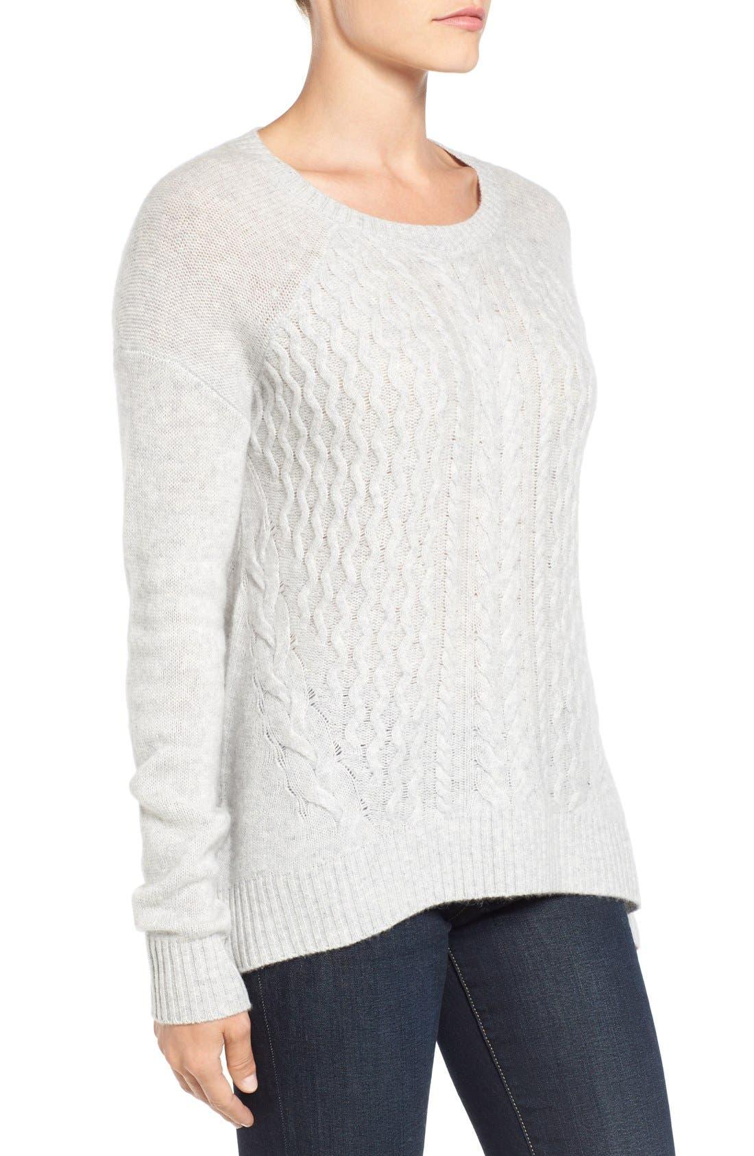 Alternate Image 4  - Halogen® Cable Knit Wool & Cashmere Sweater (Regular & Petite)