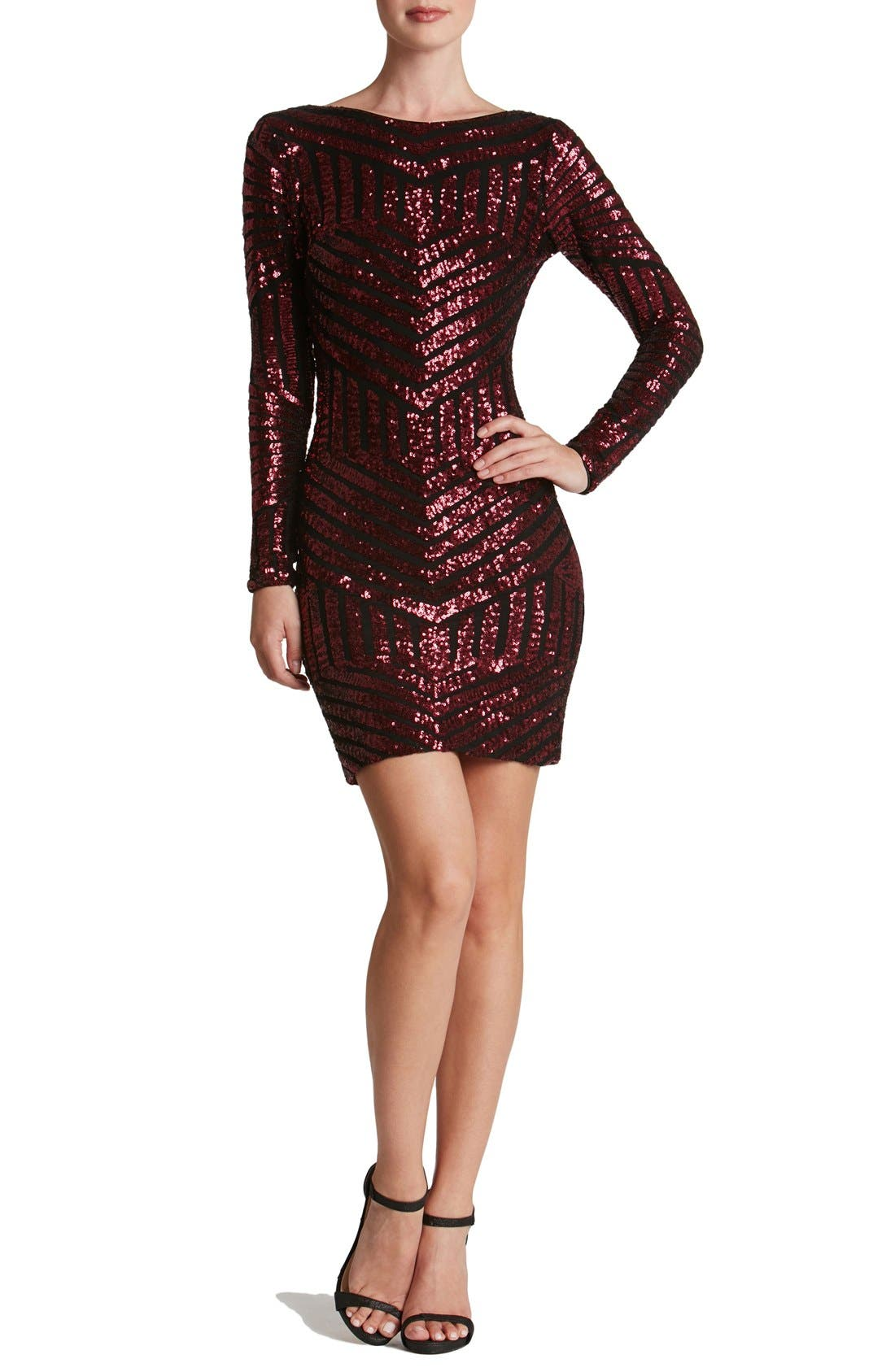 DRESS THE POPULATION 'Lola' Sequin Body-Con Dress