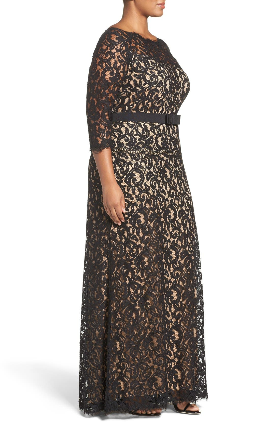Alternate Image 3  - Tadashi Shoji Mock Two Piece Lace Gown (Plus Size)
