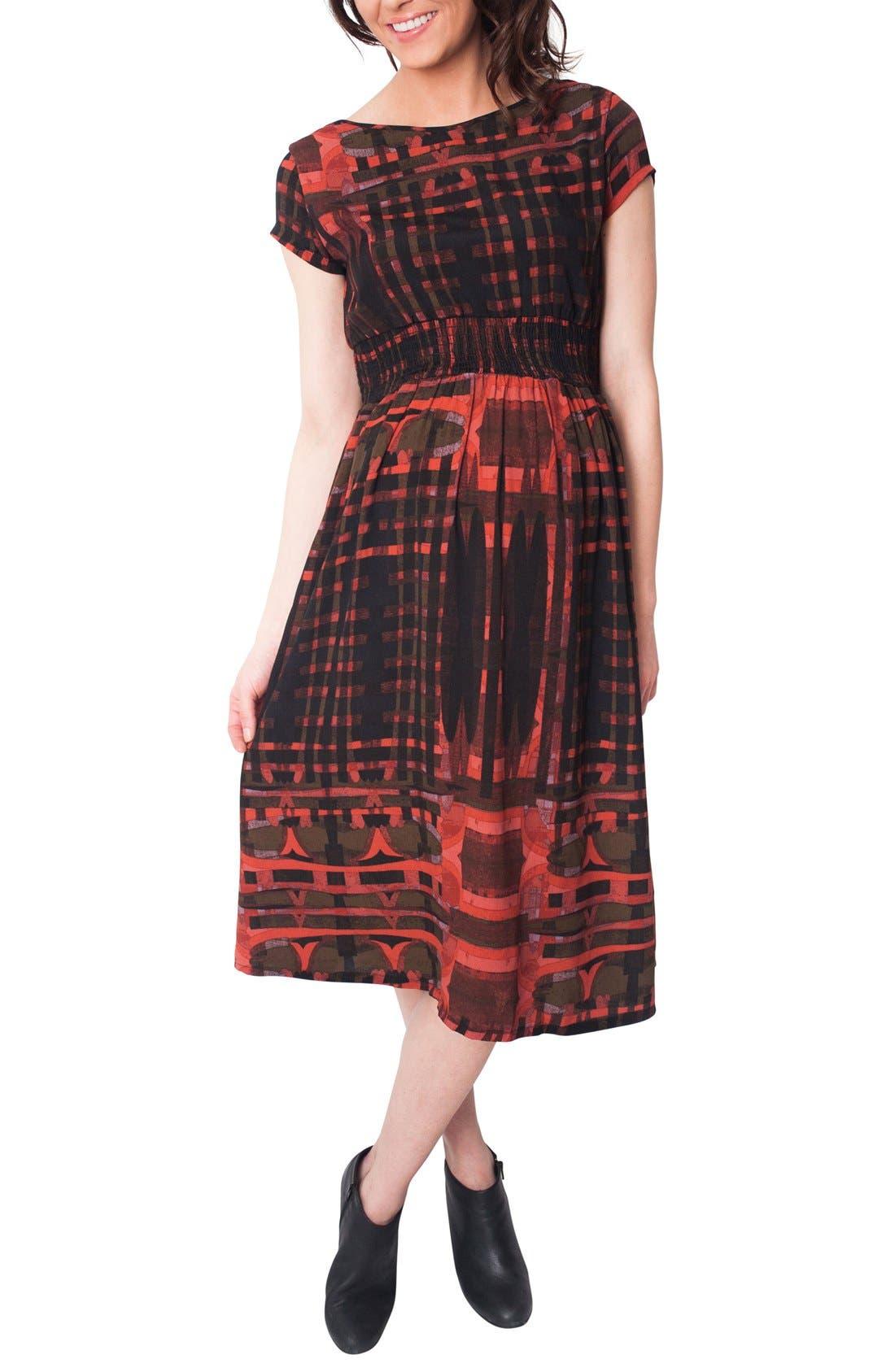 NOM MATERNITY Nom 'Max' Print Midi Maternity Dress