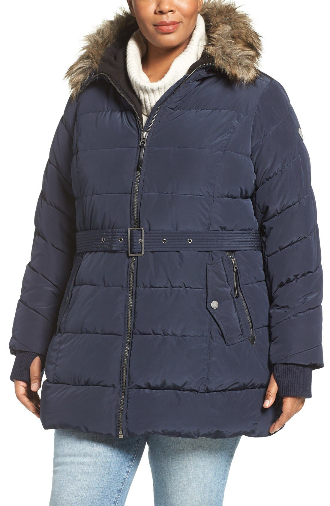 Alternate Image 4  - Lucky Brand Belted Puffer Jacket with Faux Fur Trim (Plus Size)