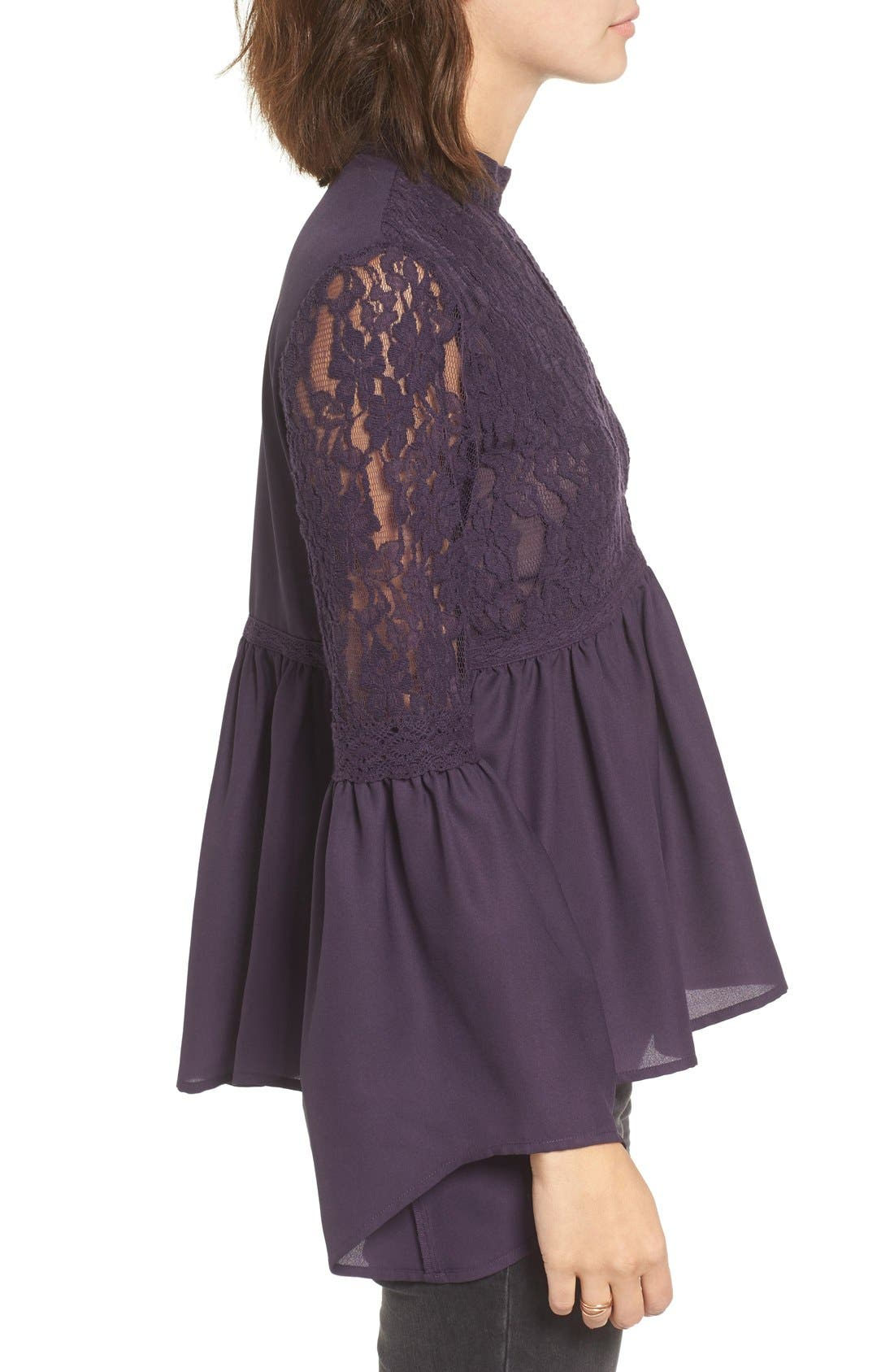 Alternate Image 3  - Sun & Shadow Lace Inset Peplum Top