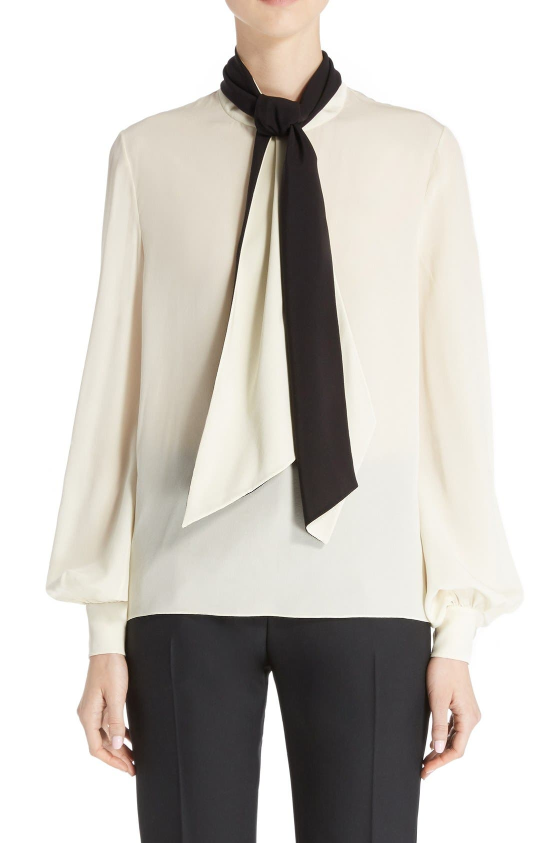 LANVIN Bicolor Crêpe de Chine Blouse with Detachable