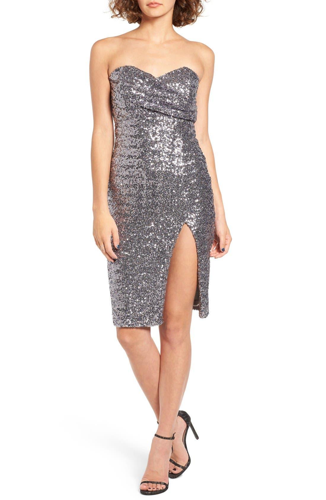 Alternate Image 1 Selected - TFNC Cirilla Strapless Sequin Dress