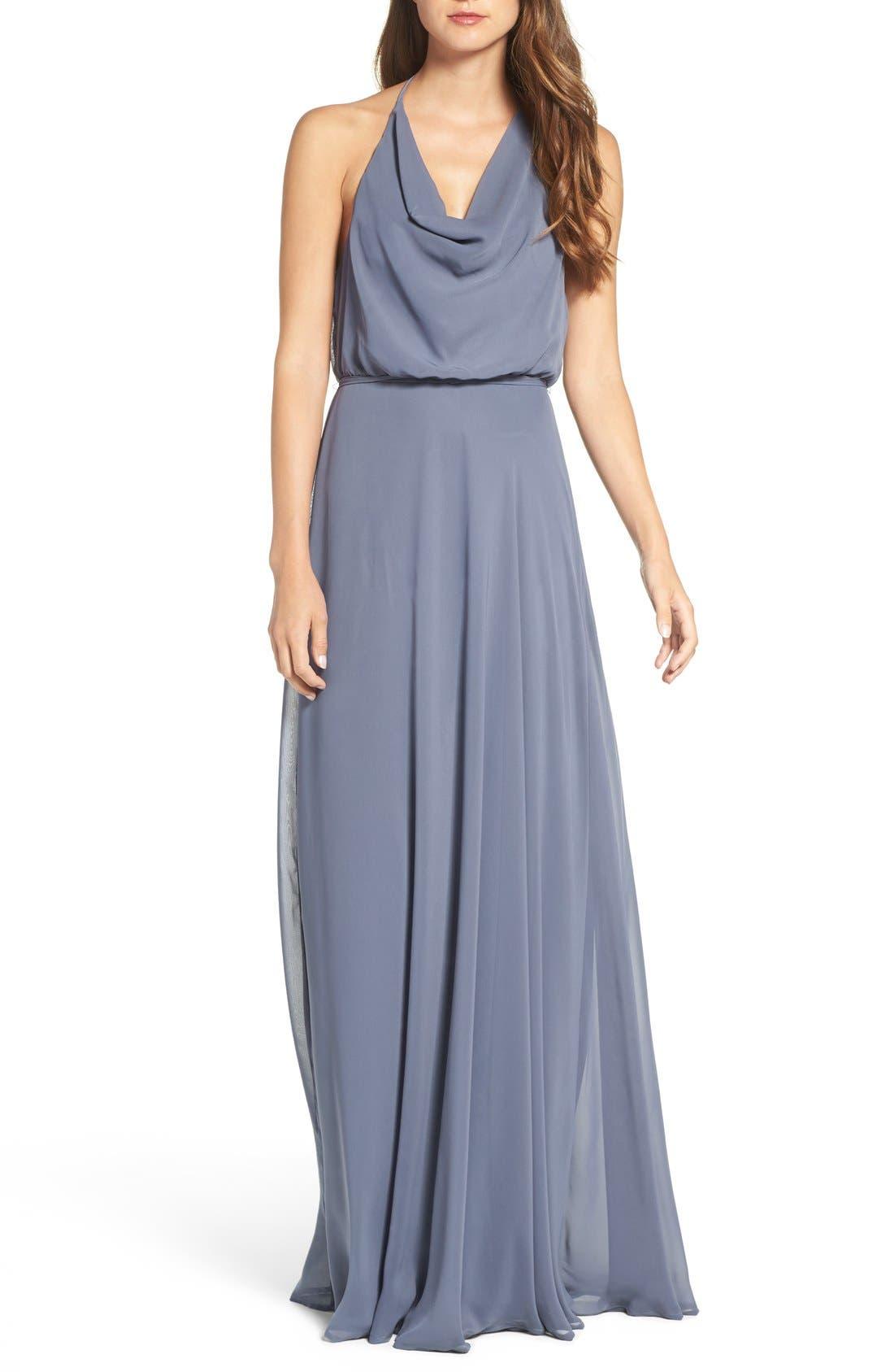 nouvelle AMSALE 'Alyssa' Cowl Neck Chiffon Halter Gown