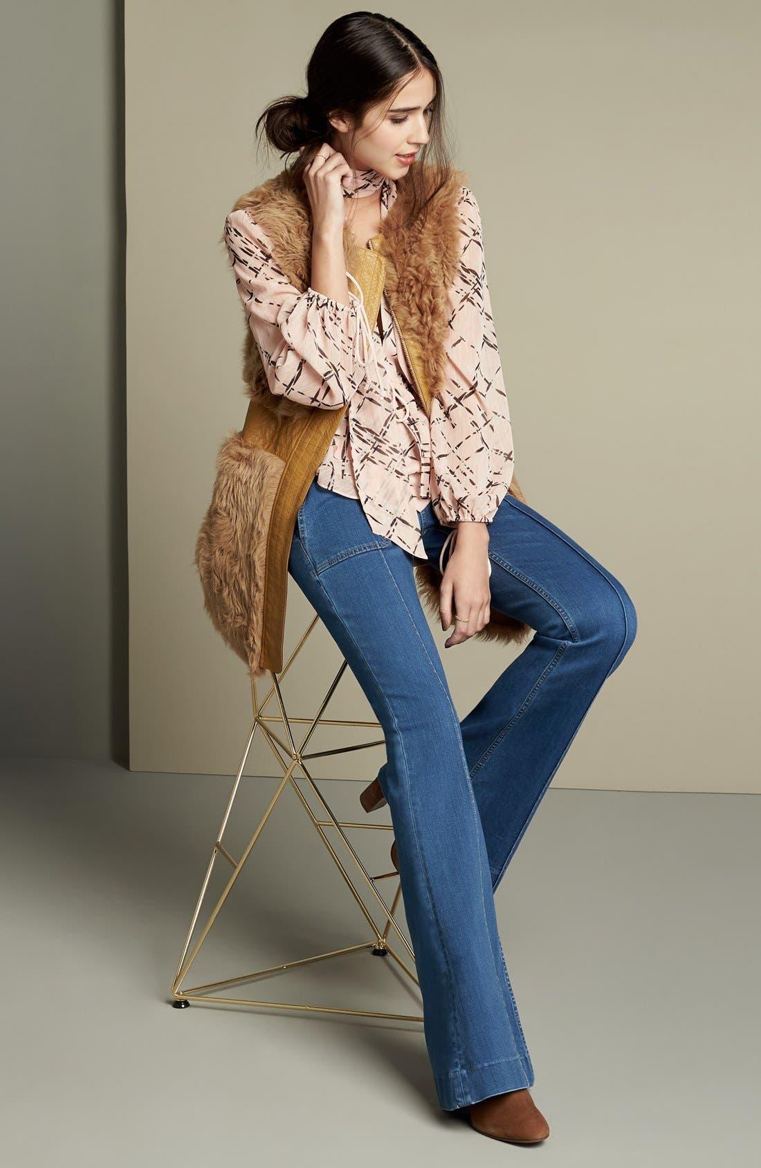 Alternate Image 2  - Olivia Palermo + Chelsea28 High Rise Flare Jeans (Mode Lt Rinse)