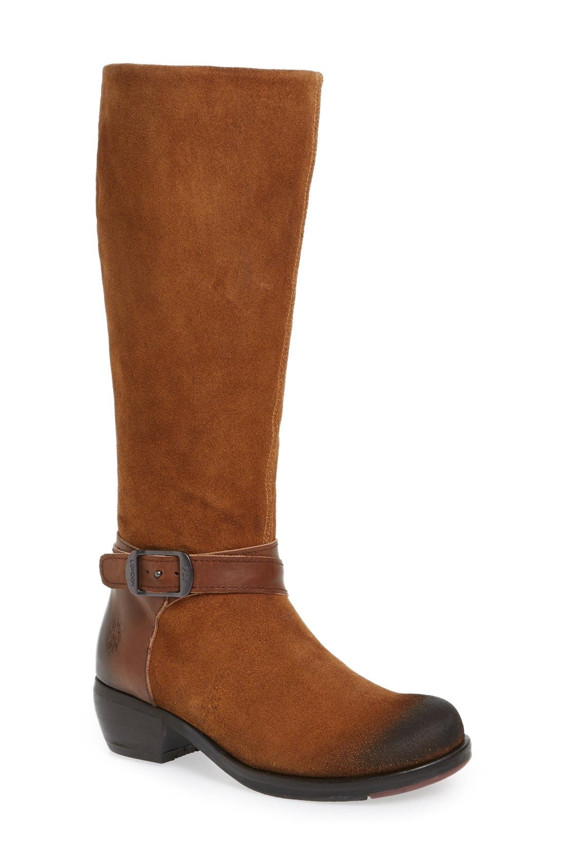 FLY LONDON 'Meek' Knee High Buckle Strap Boot