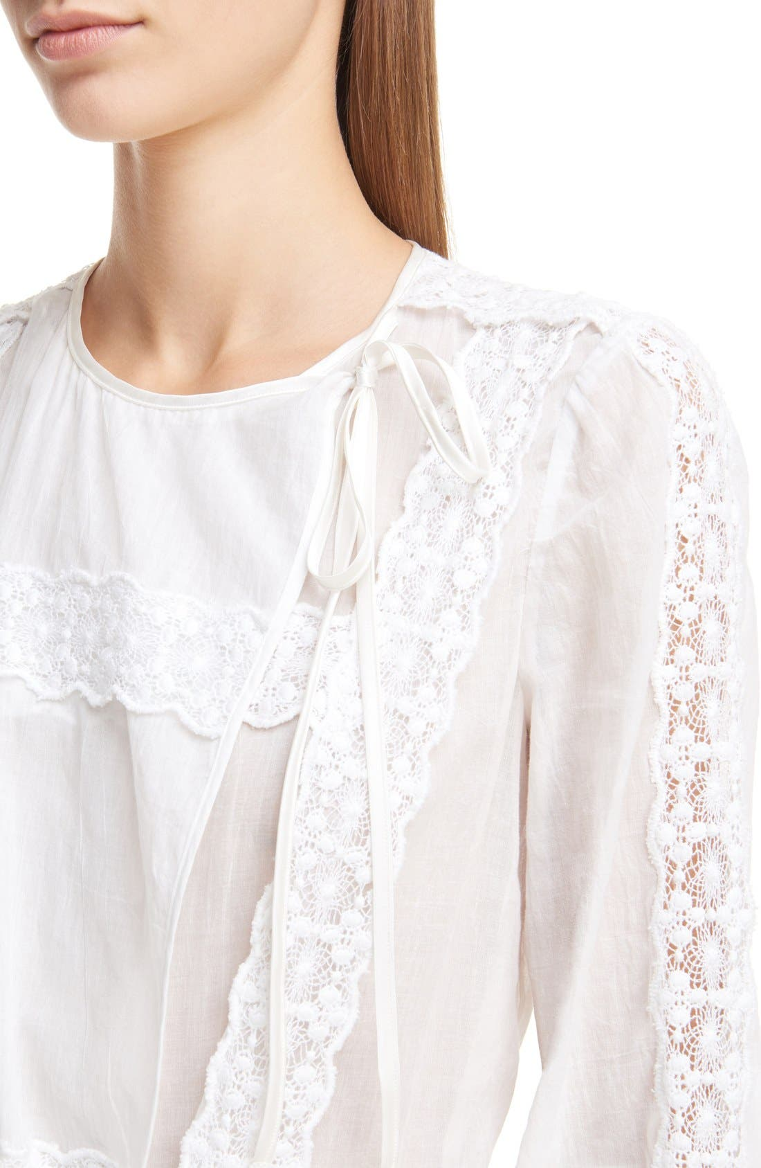 Alternate Image 6  - Givenchy Ruffle Crepon Peasant Blouse