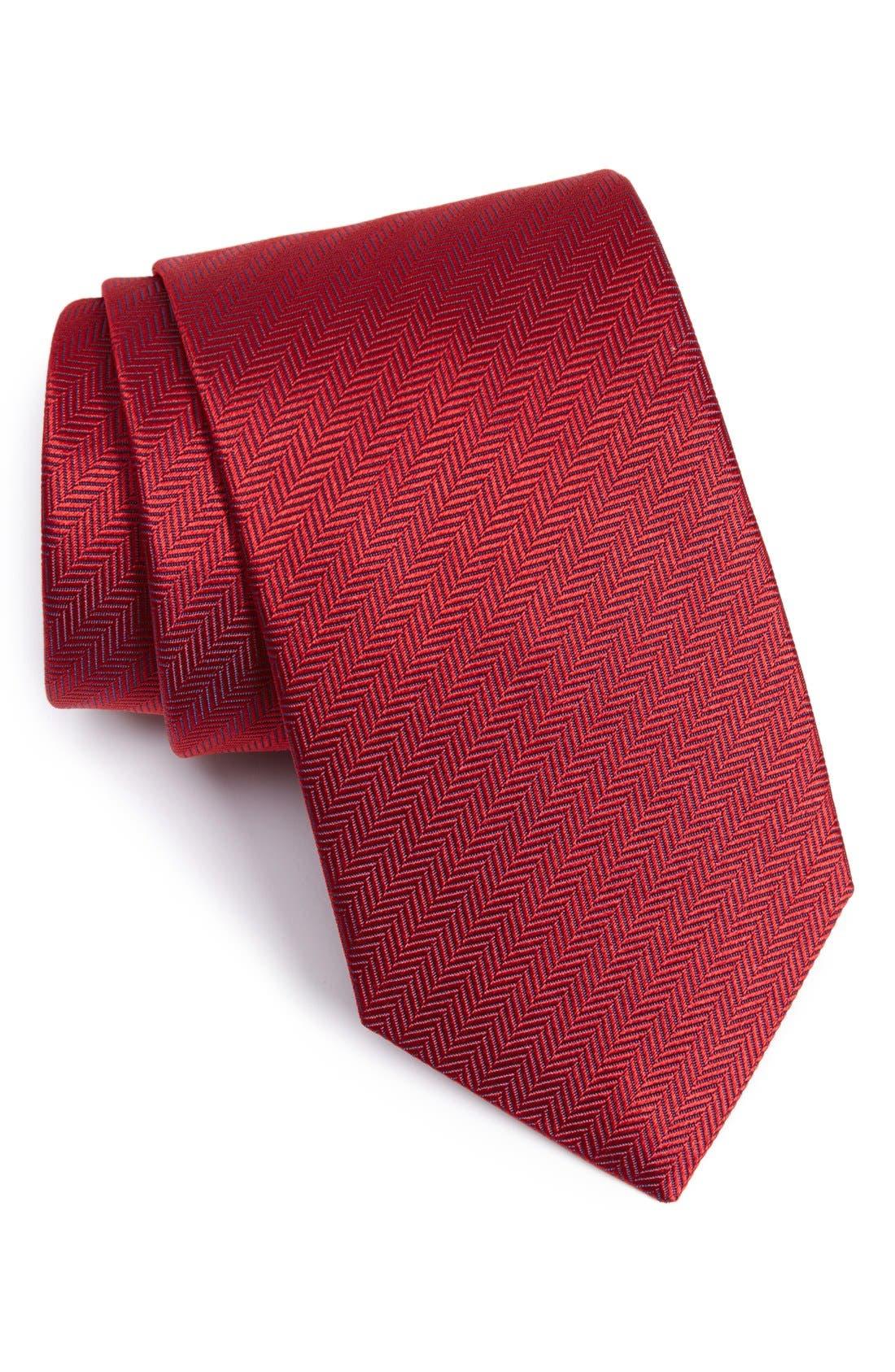 Eton Herringbone Textured Silk Tie