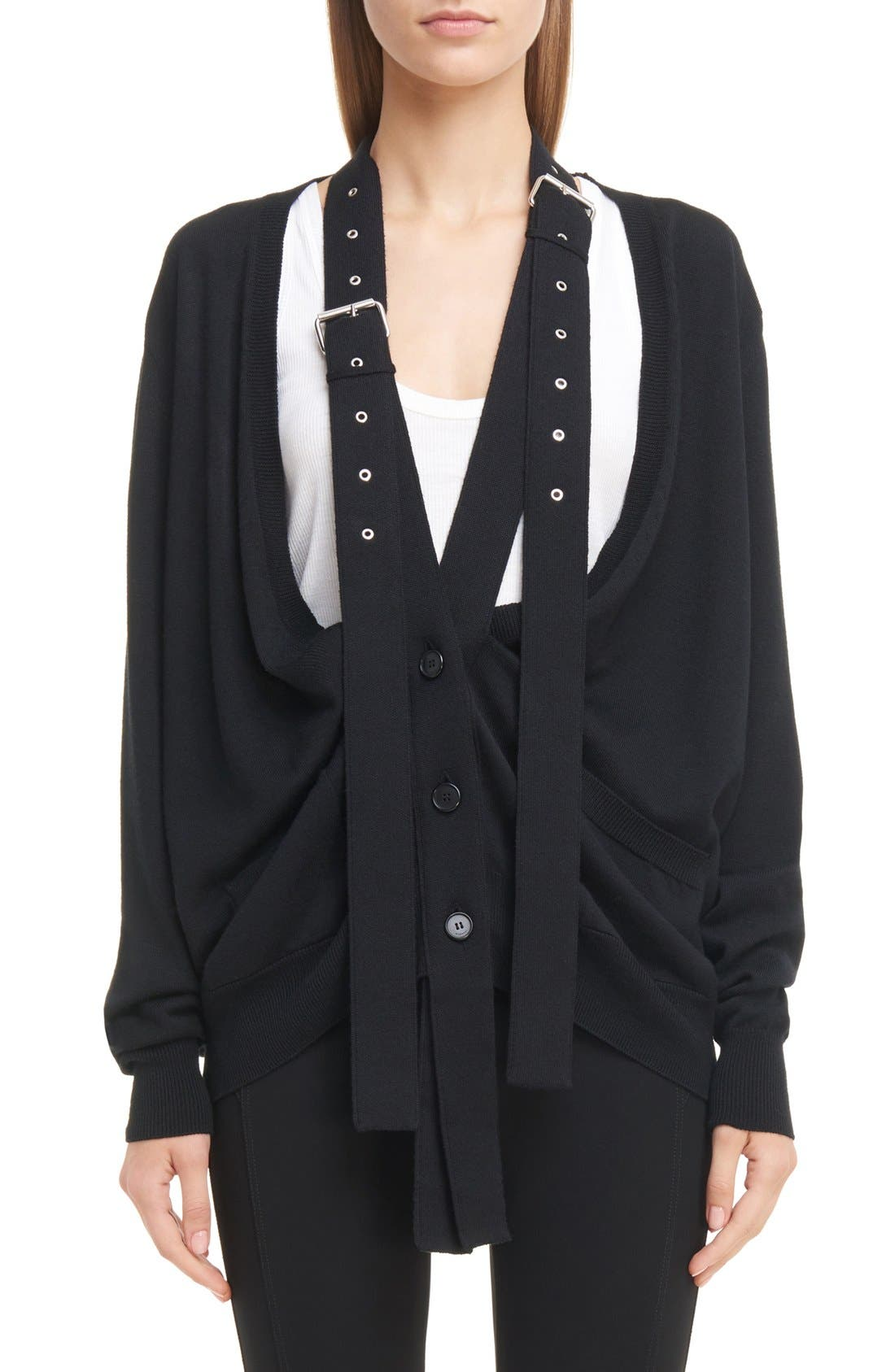 GIVENCHY Wool & Silk Cardigan with Attached Suspenders