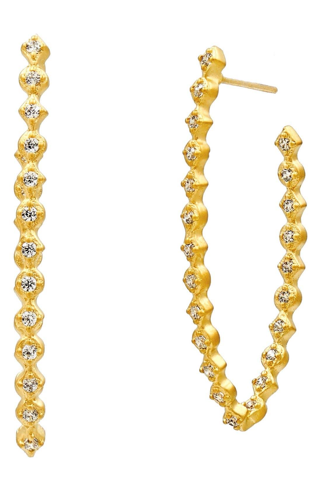 Alternate Image 3  - FREIDA ROTHMAN 'Textured Pearl' Cubic Zirconia Elongated Hoop Earrings