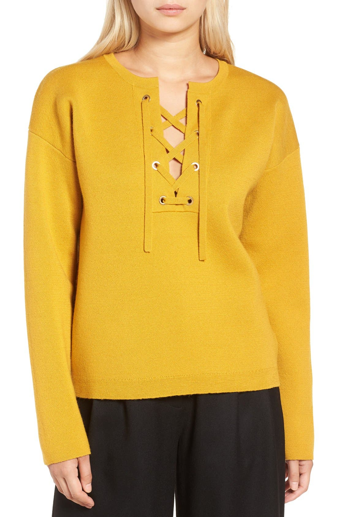 Alternate Image 1 Selected - J.Crew Collection Bonded Lace-Up Sweater