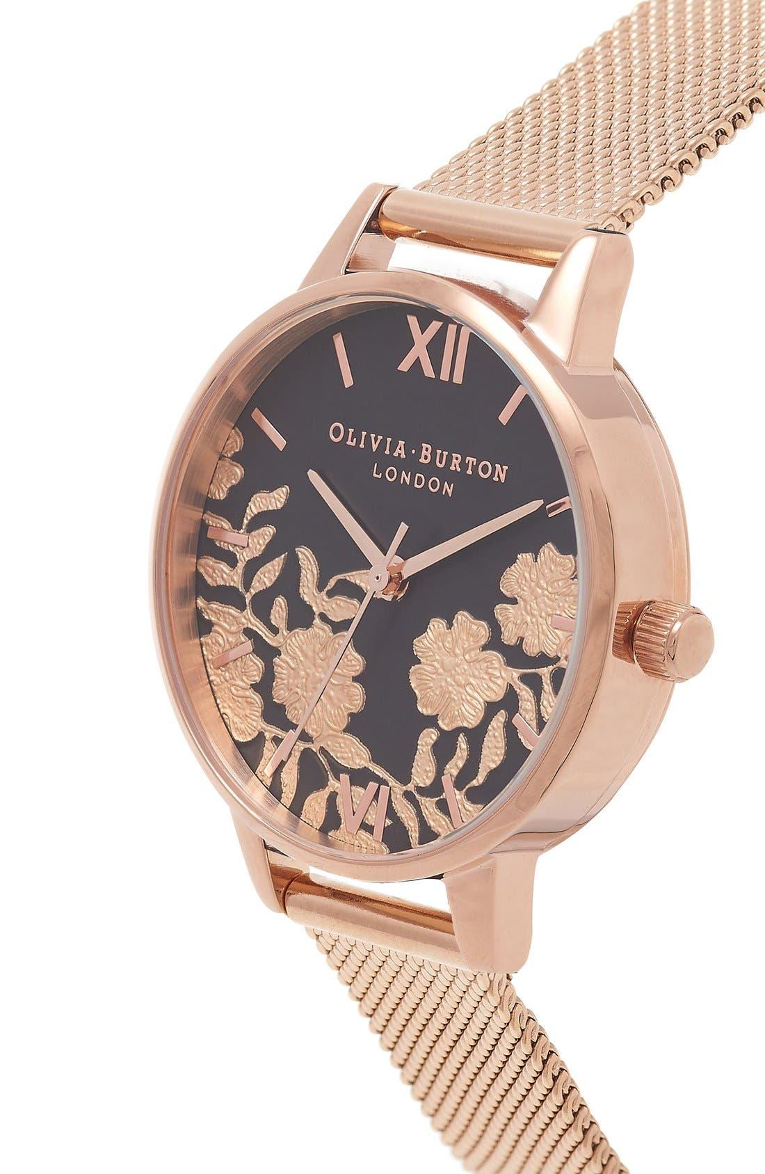 Alternate Image 3  - Olivia Burton Lace Detail Mesh Bracelet Watch, 30mm