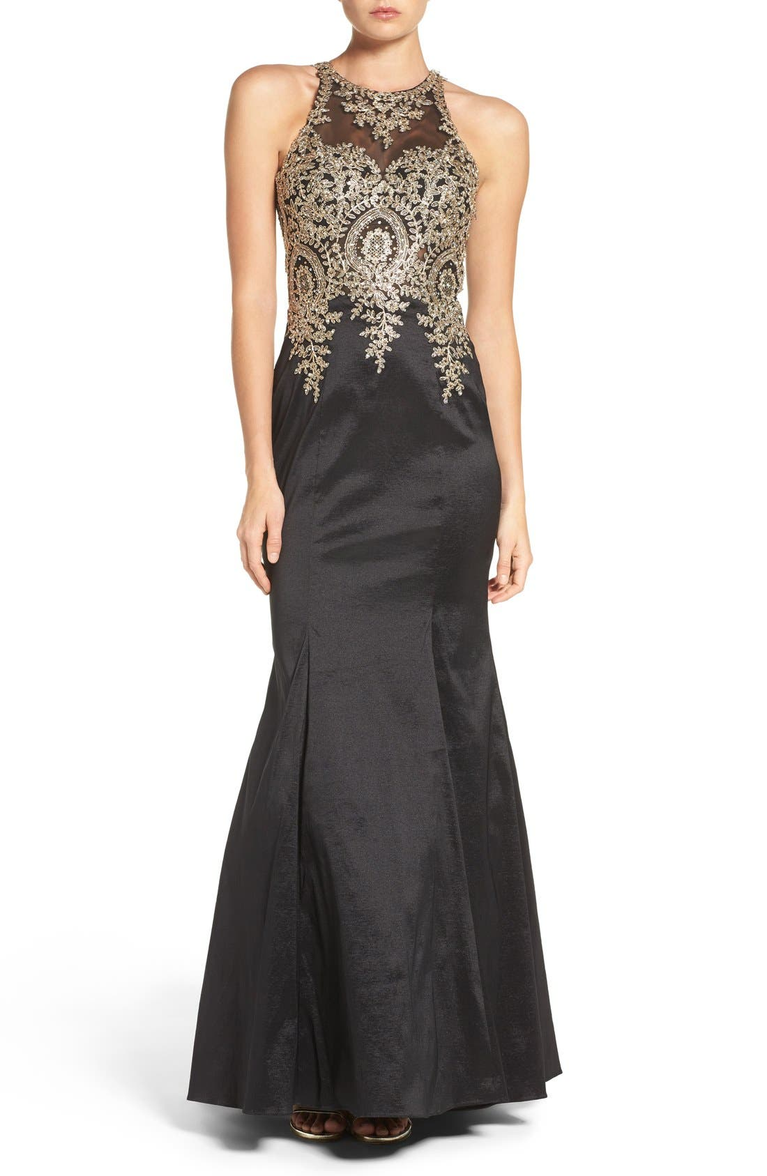 Alternate Image 1 Selected - Xscape Embellished Taffeta Gown (Regular & Petite)