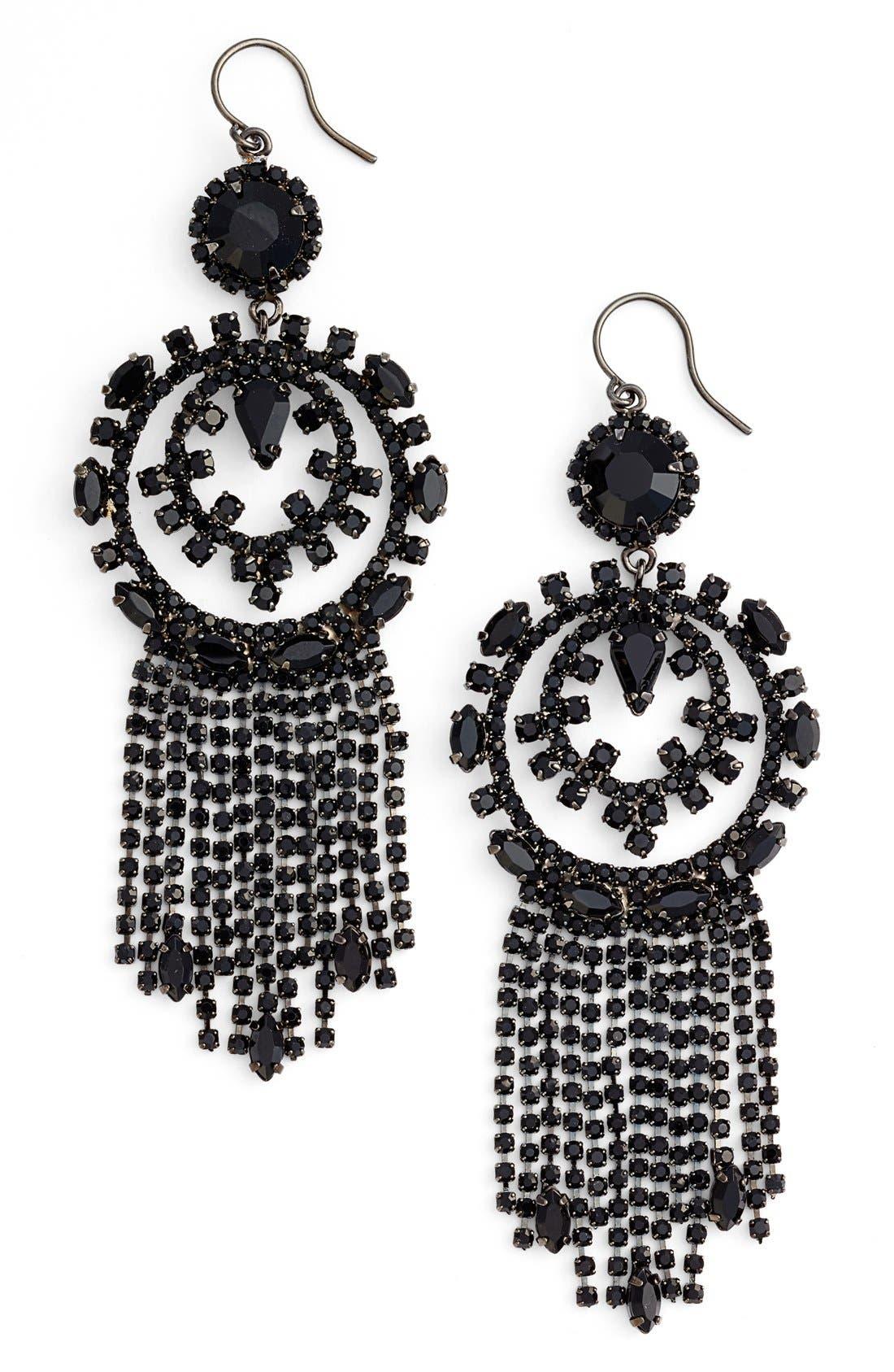 Main Image - Cristabelle Circle Fringe Drop Earrings