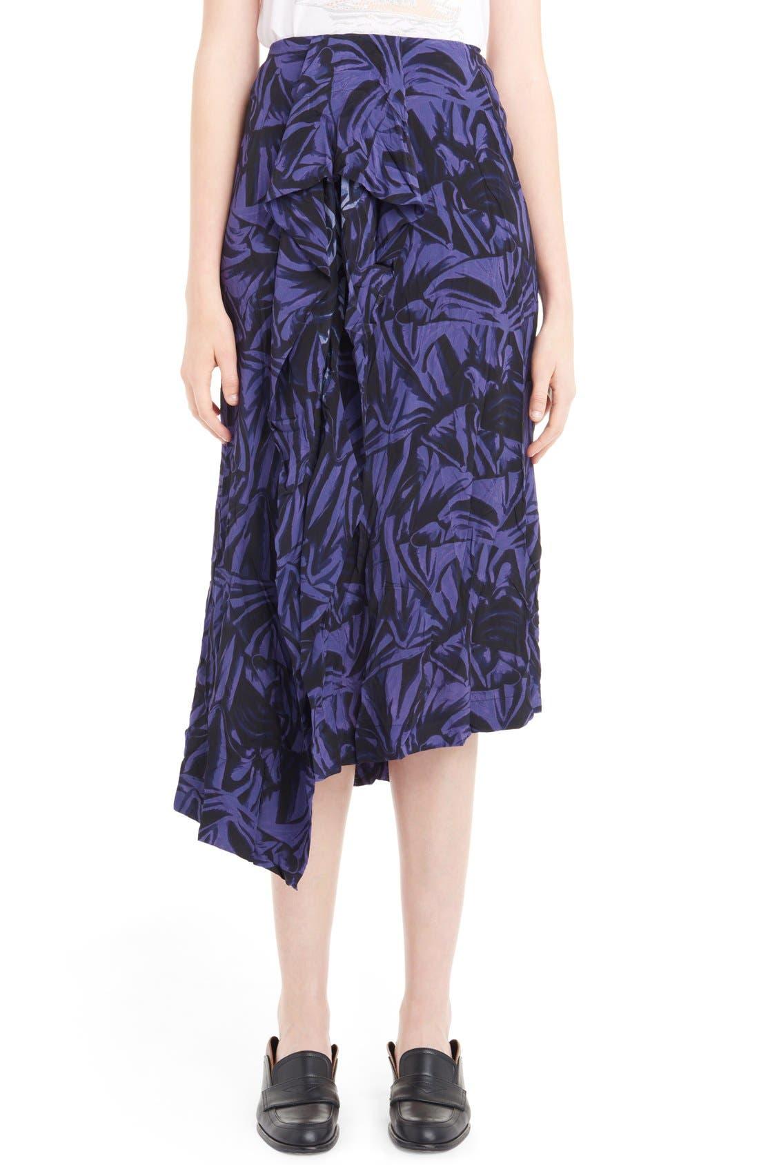 LOEWE Ruffle Front Print Asymmetrical Skirt