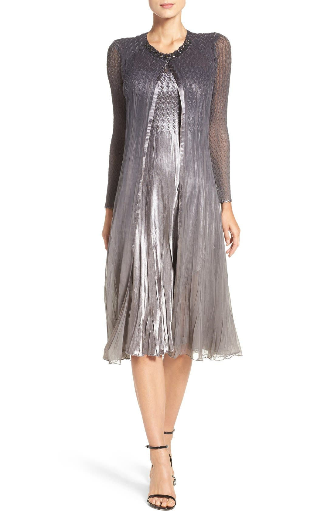 KOMAROV Charmeuse & Chiffon A-Line Dress with Jacket