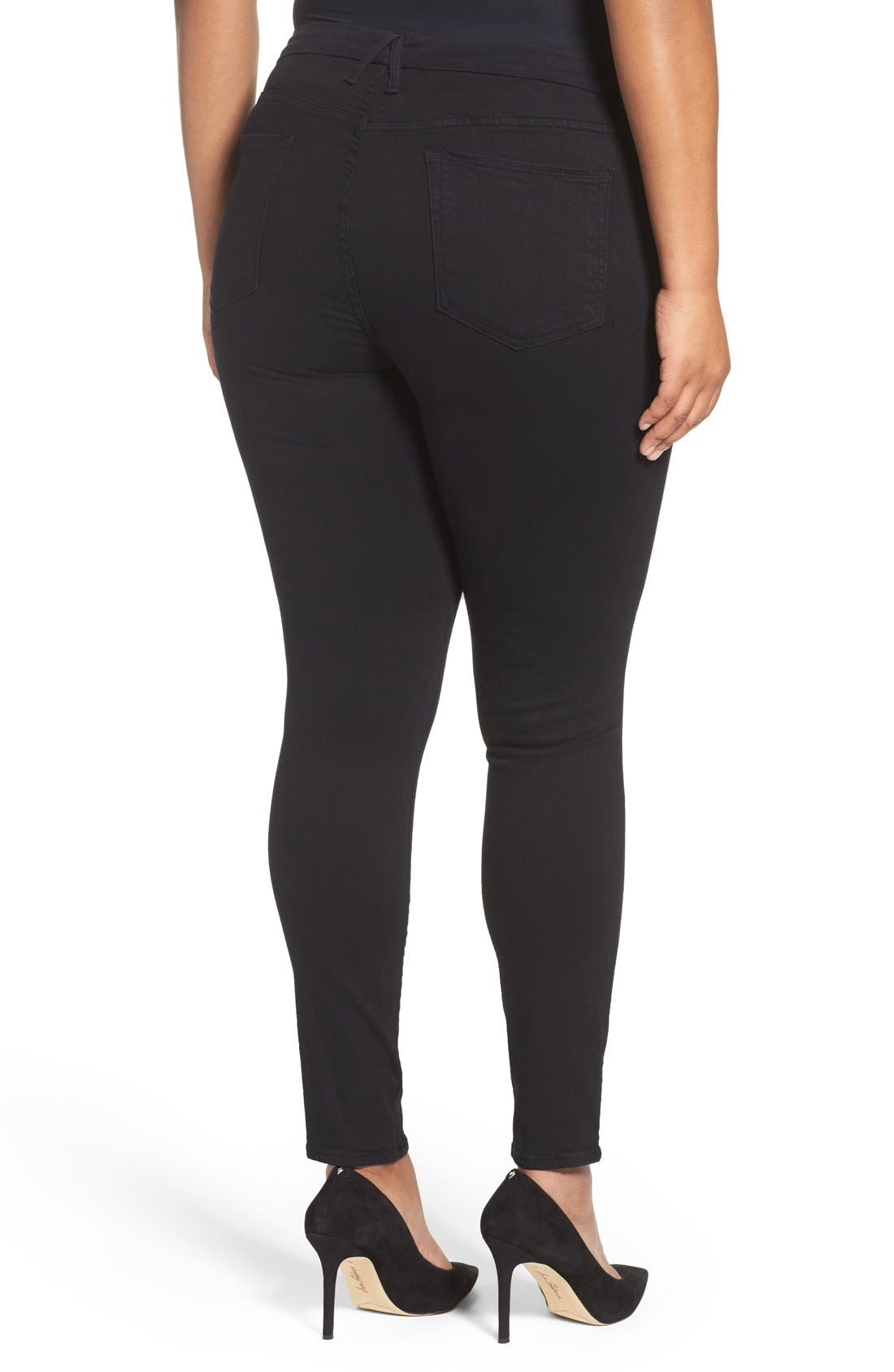 Alternate Image 6  - Good American Good Legs High Rise Ripped Skinny Jeans (Black 002)