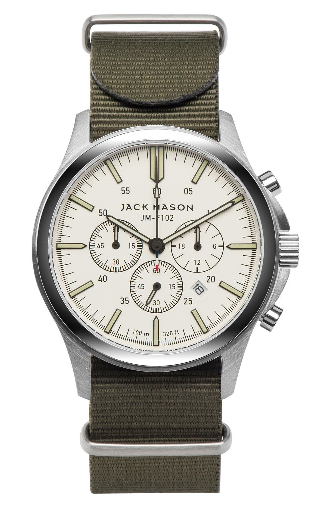JACK MASON Field Chronograph Nylon Strap Watch, 42mm