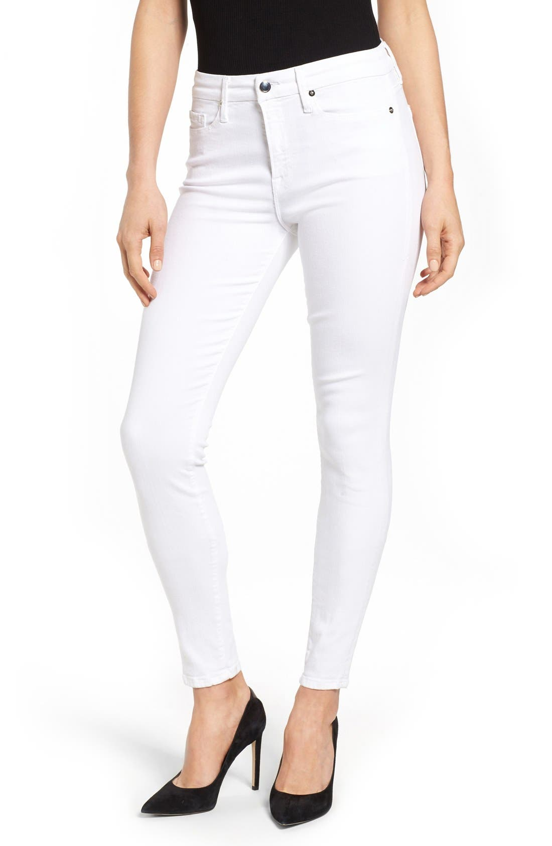 Main Image - Good American Good Legs High Rise Skinny Jeans (White 001) (Extended Sizes)