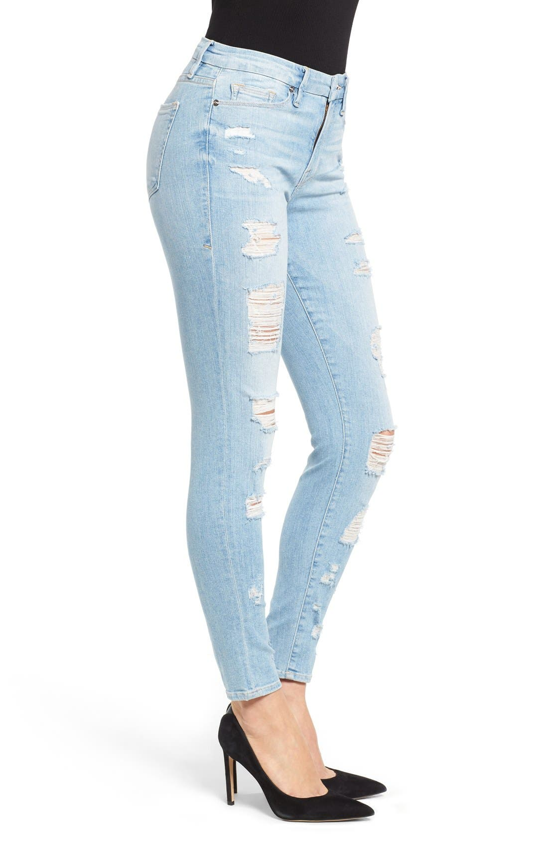 Alternate Image 3  - Good American Good Legs High Rise Ripped Skinny Jeans (Blue 008)