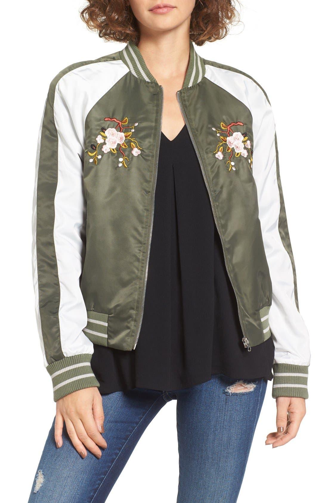 Alternate Image 1 Selected - Glamorous Embroidered Satin Bomber Jacket