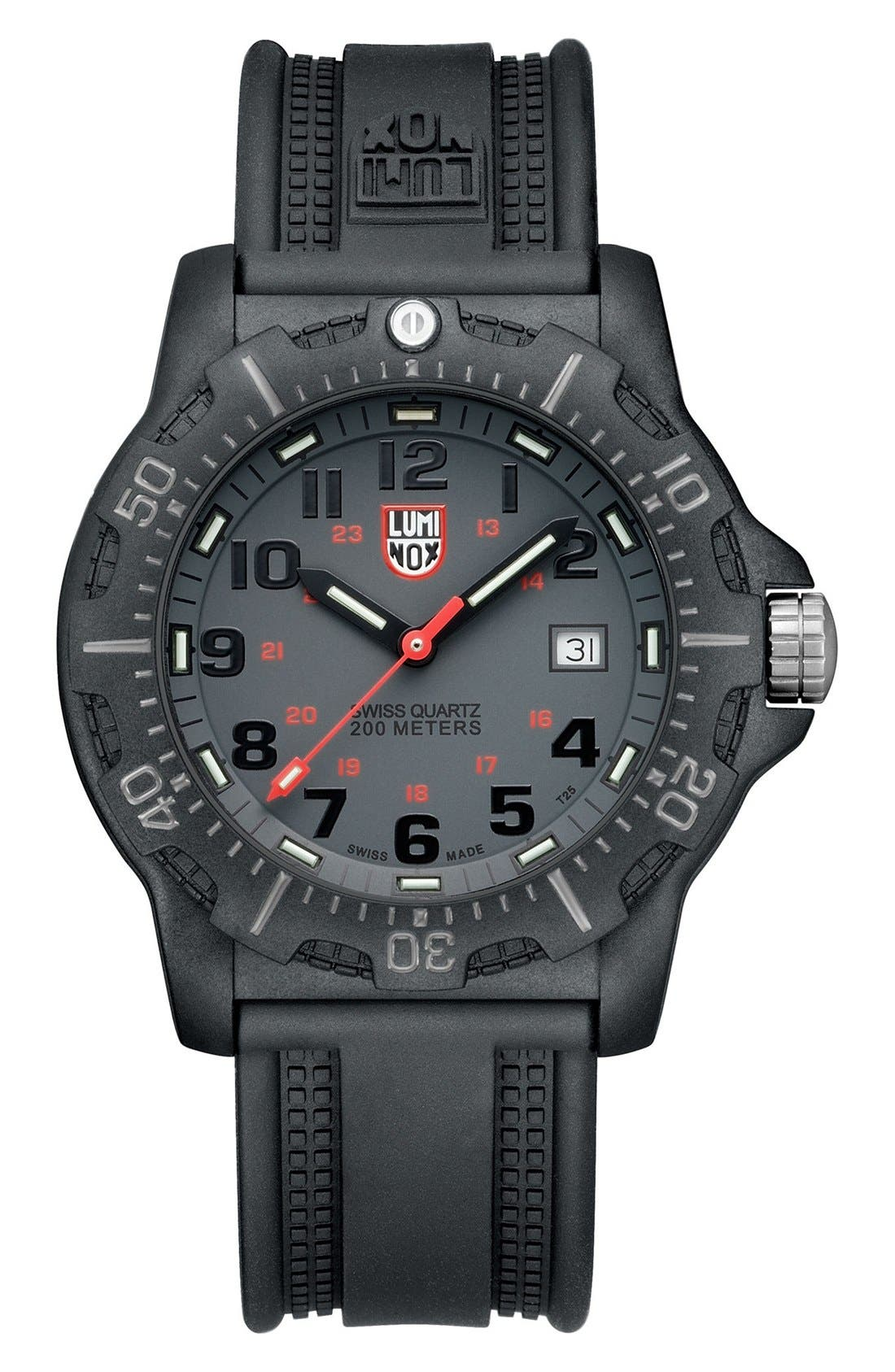 Alternate Image 1 Selected - Luminox Black Ops Carbon Silicon Strap Watch, 45mm