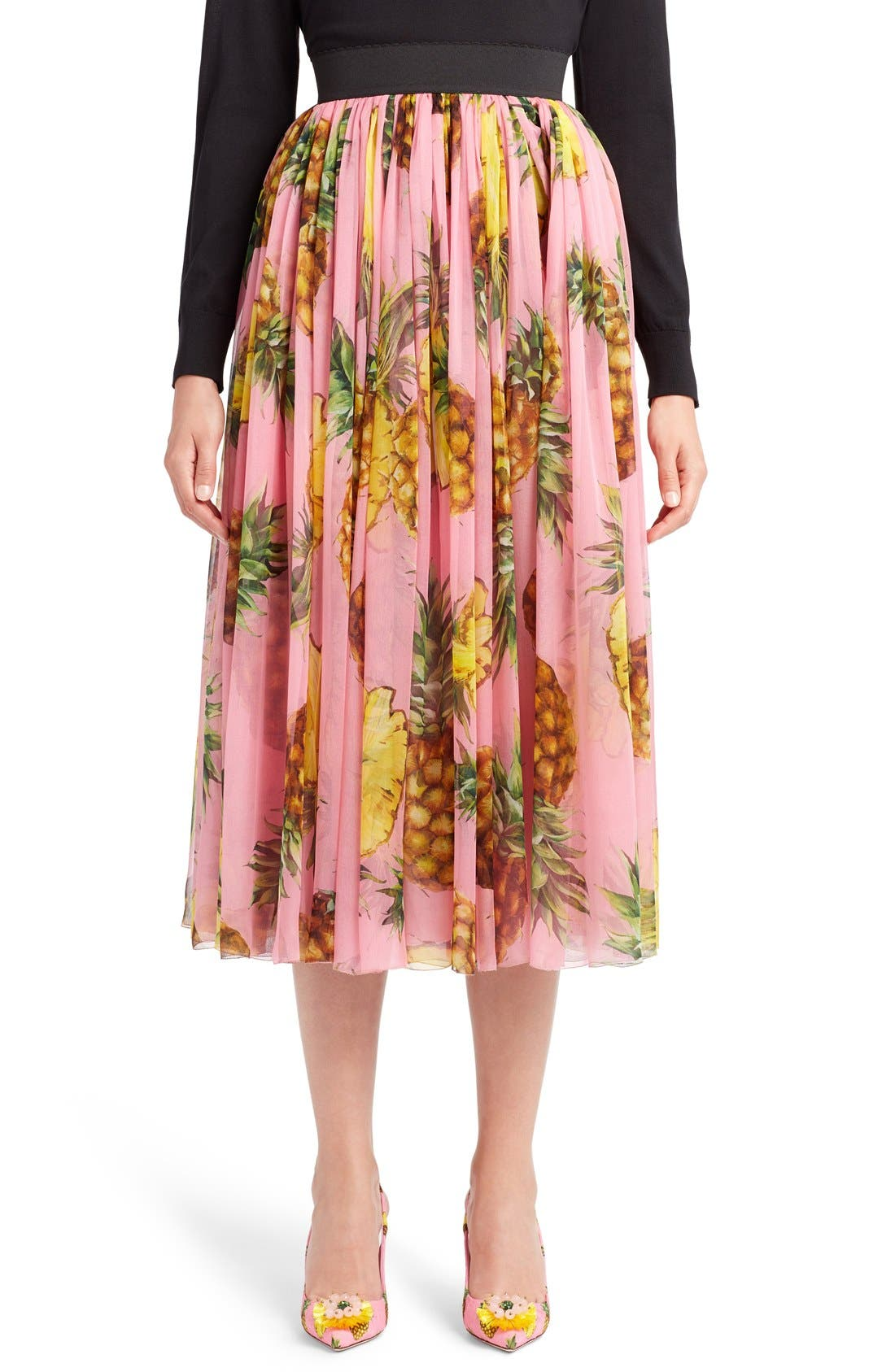 DOLCE&GABBANA Pineapple Print Pleated Midi Skirt