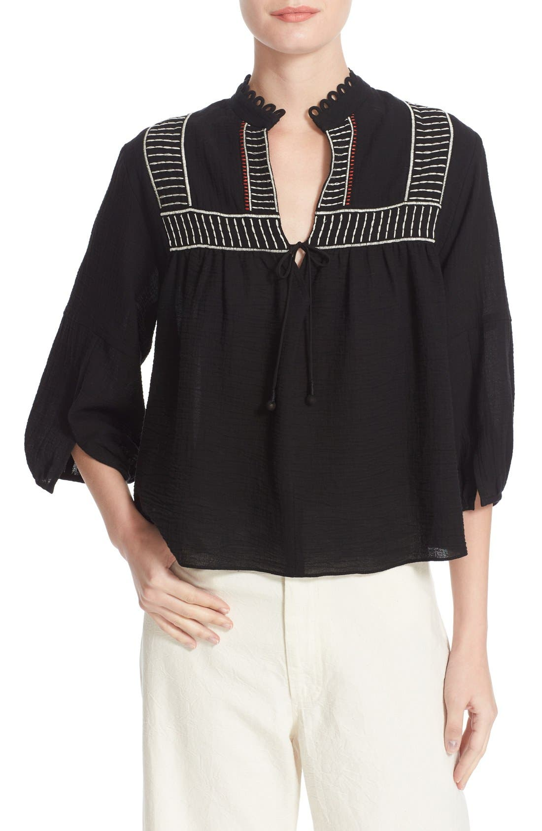 APIECE APART Loreto Embroidered Cotton Blouse
