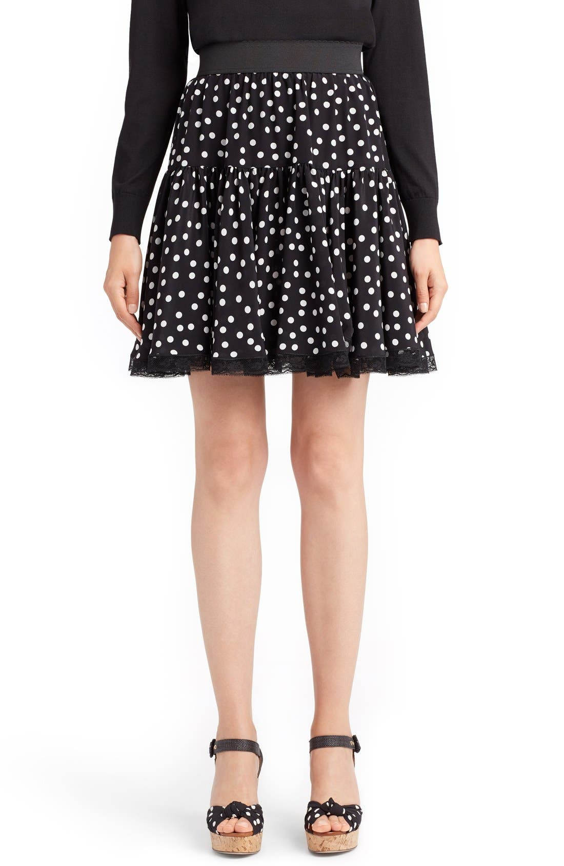 DOLCE&GABBANA Polka Dot Silk Skirt