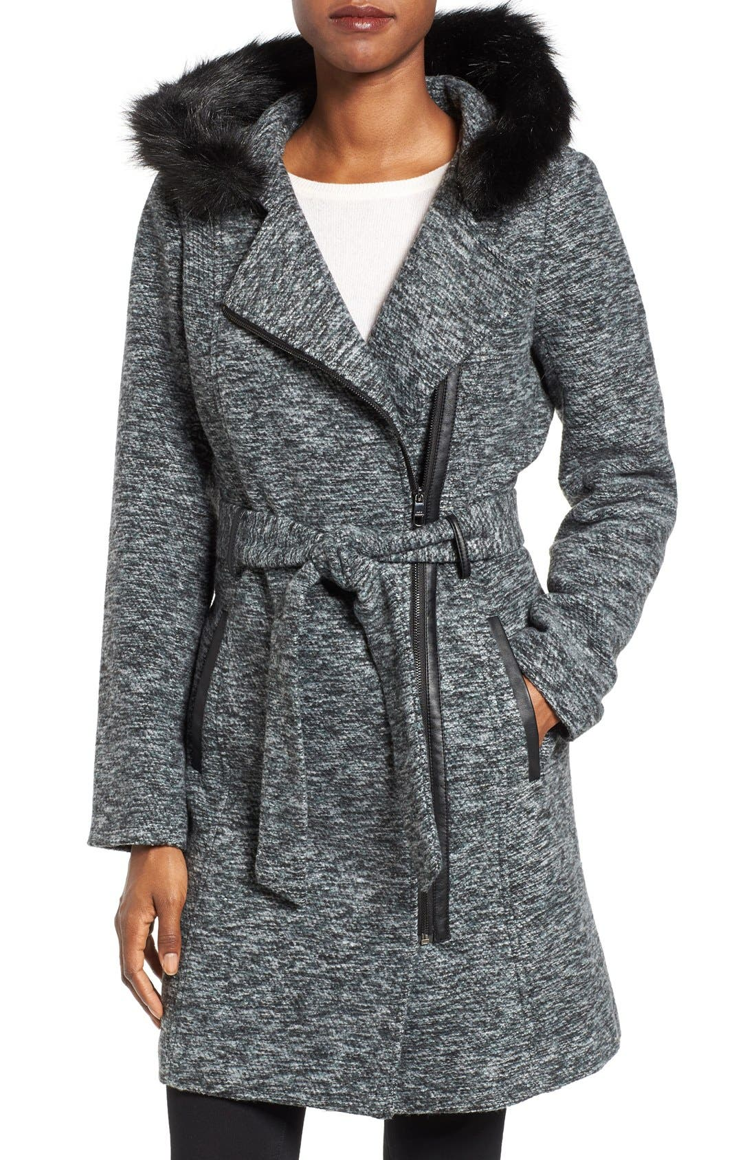 Alternate Image 1 Selected - Steve Madden Asymmetrical Hooded Coat with Faux Fur Trim