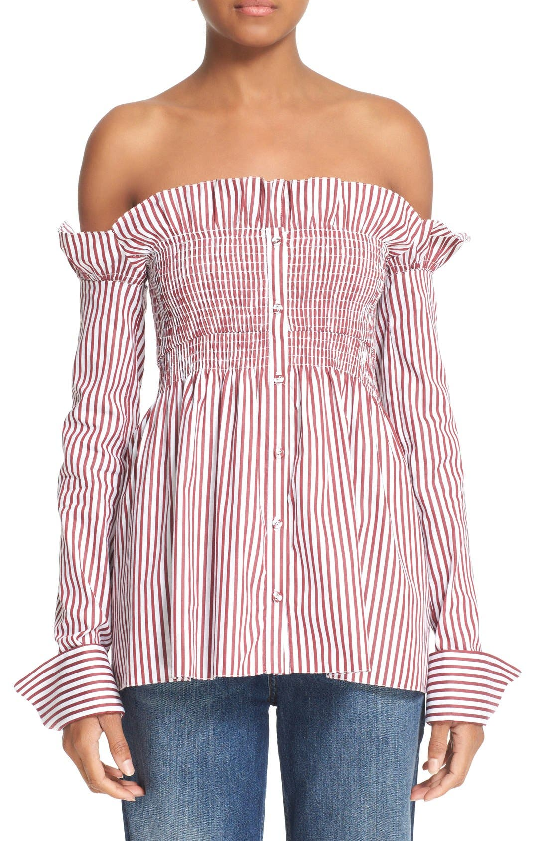 Main Image - Victoria, Victoria Beckham Off the Shoulder Smocked Shirt