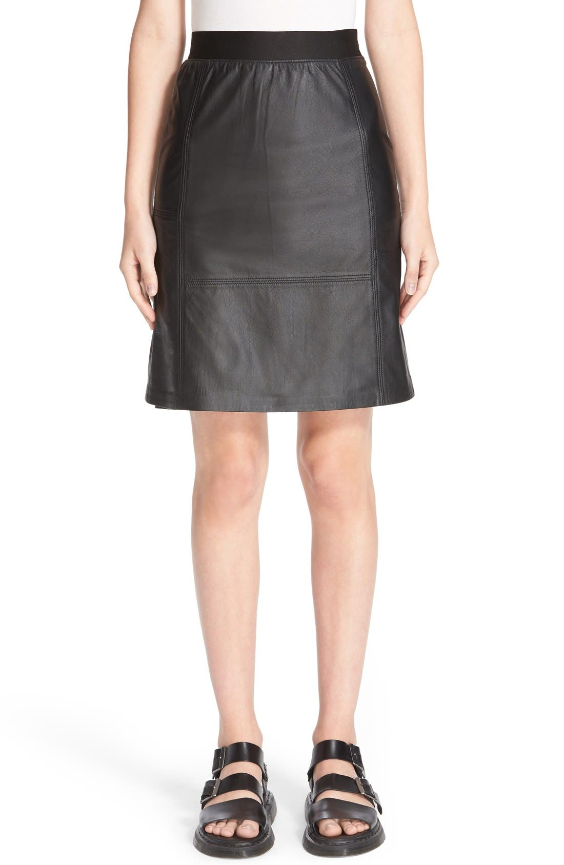 PUBLIC SCHOOL Lambskin Leather Miniskirt