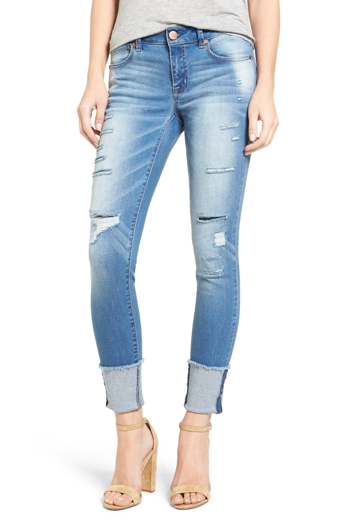 1822 Denim Ripped Cuffed Ankle Skinny Jeans (Nava)