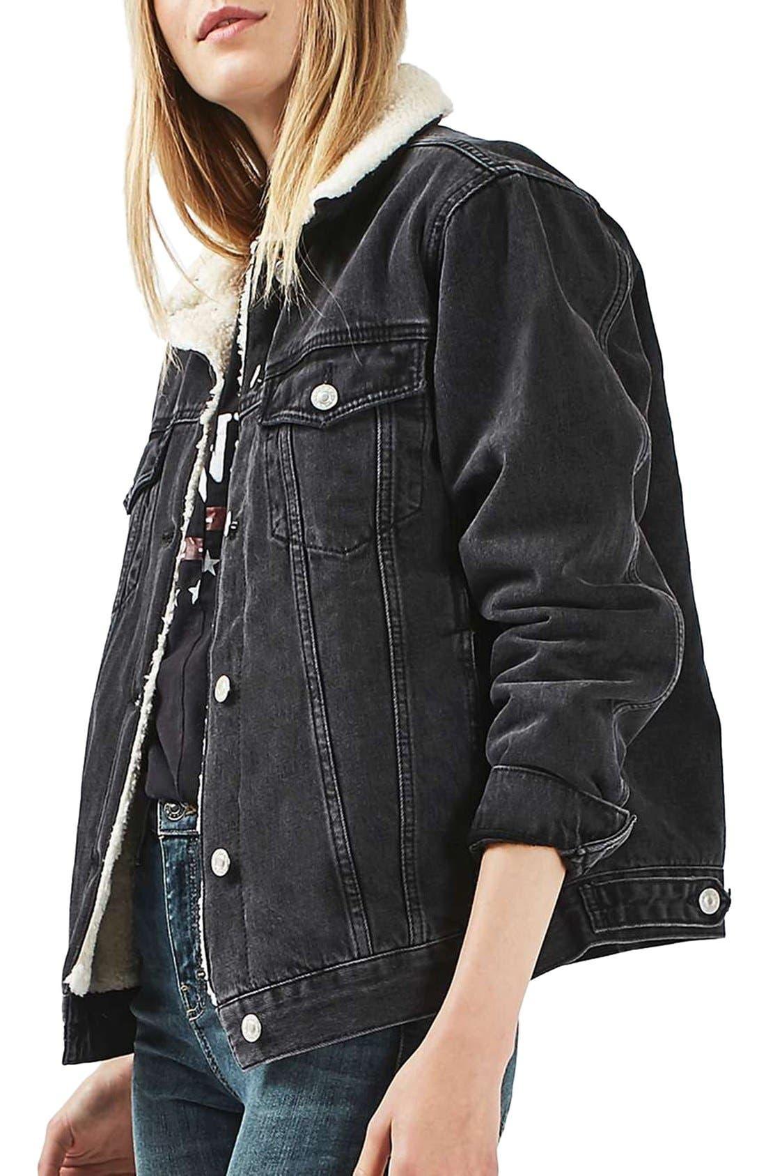 Alternate Image 4  - Topshop Moto Borg Lined Denim Jacket