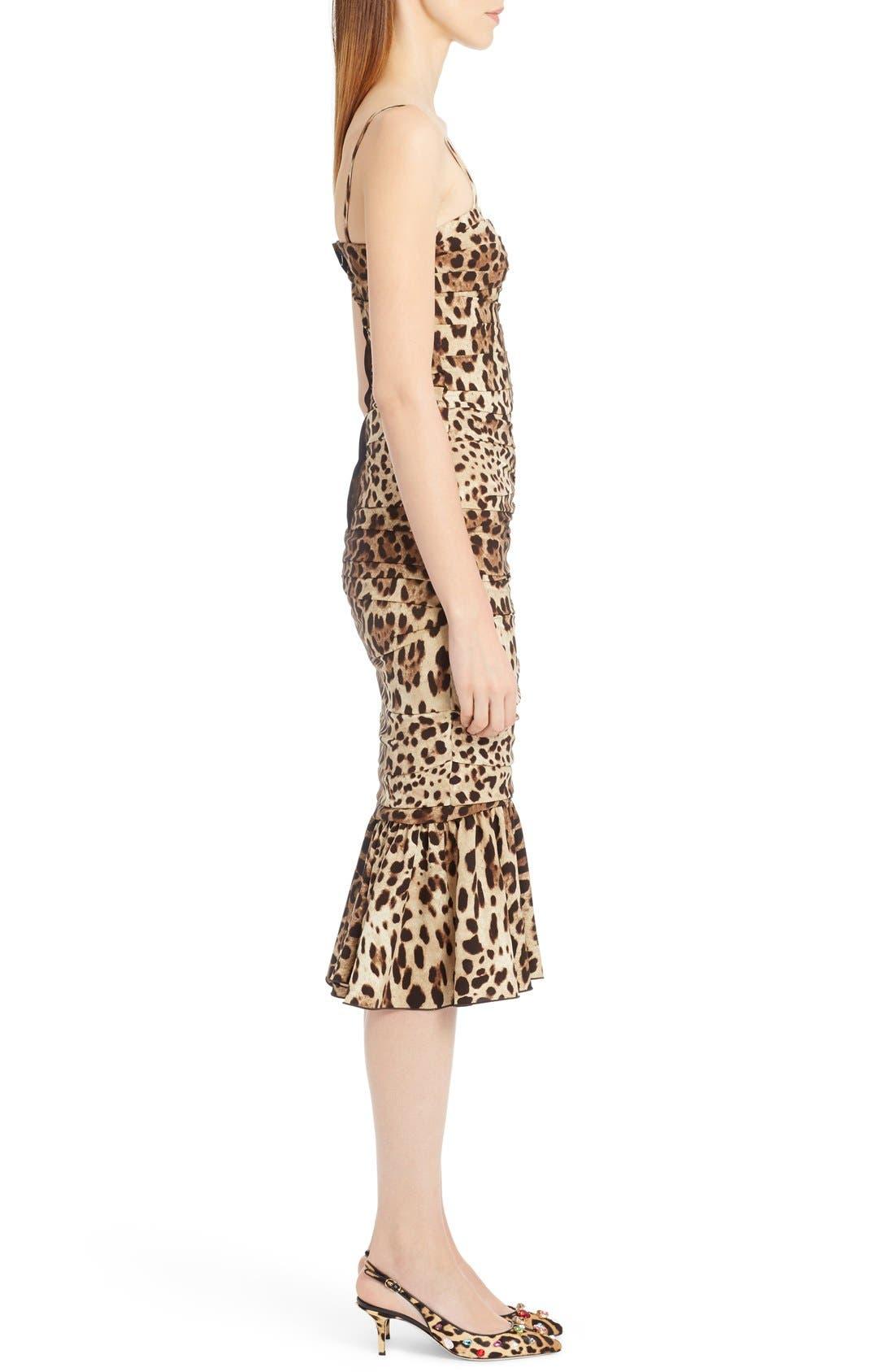 Alternate Image 4  - Dolce&Gabbana Stretch Cady Leopard Print Ruched Dress