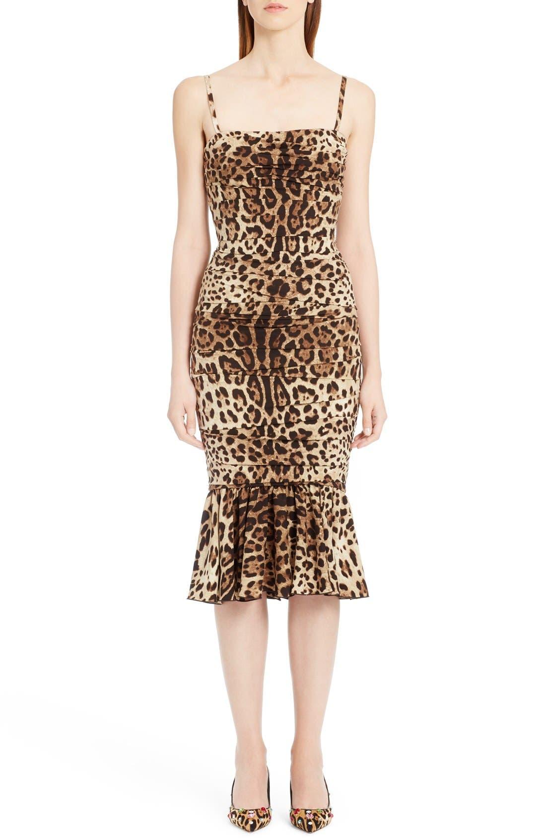 DOLCE&GABBANA Stretch Cady Leopard Print Ruched Dress