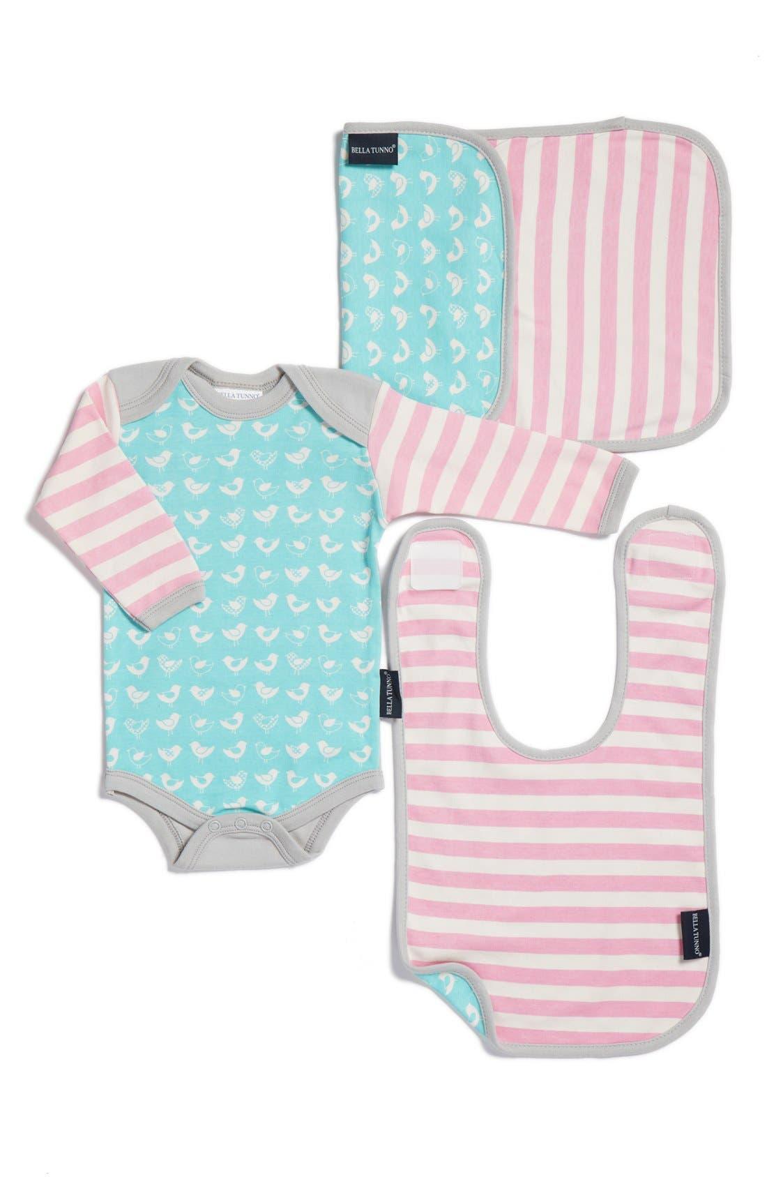 Bella Tunno Bodysuit, Bib & Burpie Cloth Set (Baby Girls)