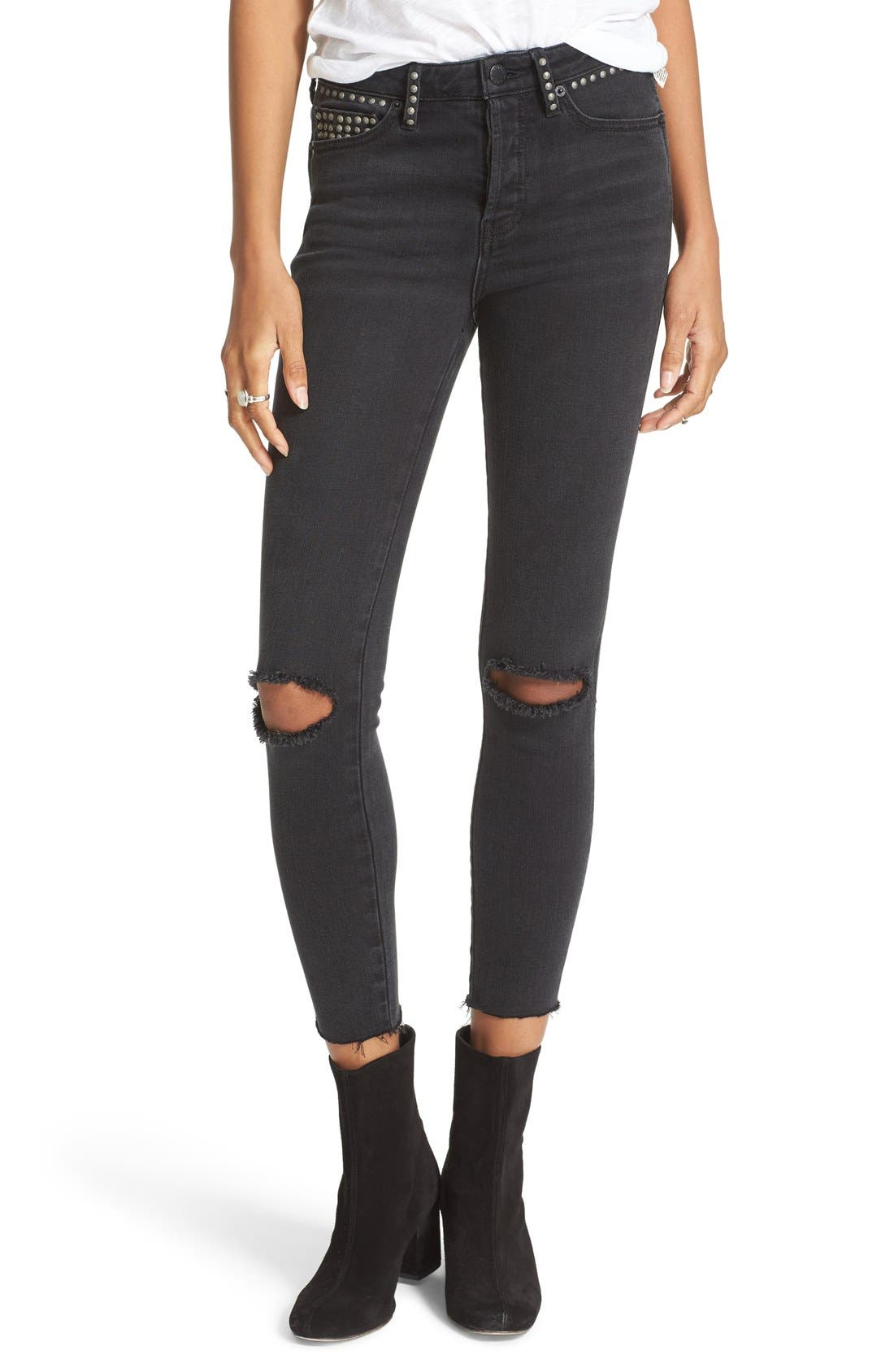 Alternate Image 1 Selected - Free People Ripped Skinny Jeans