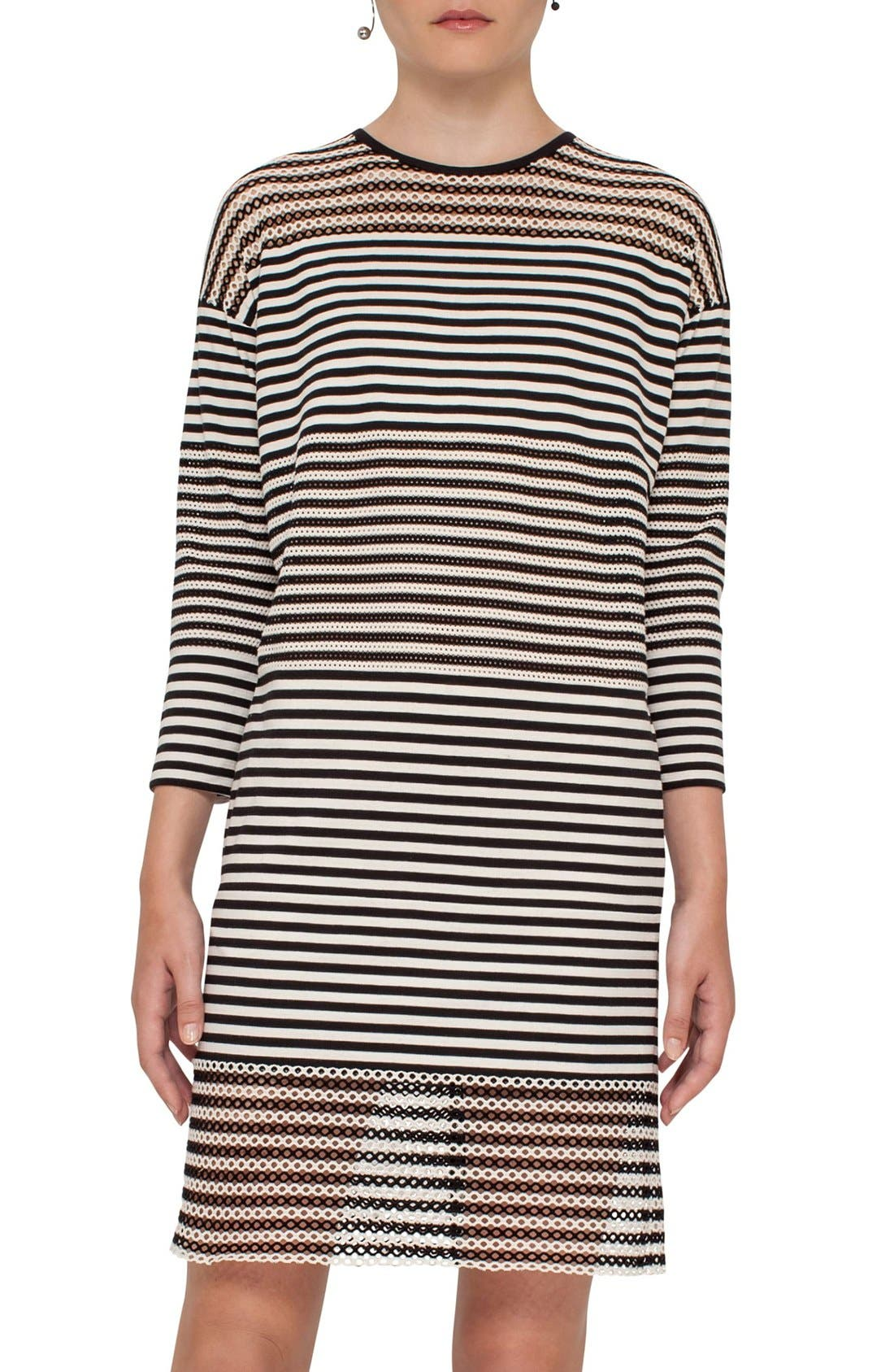 AKRIS PUNTO Mesh Inset Stripe Stretch Cotton Dress