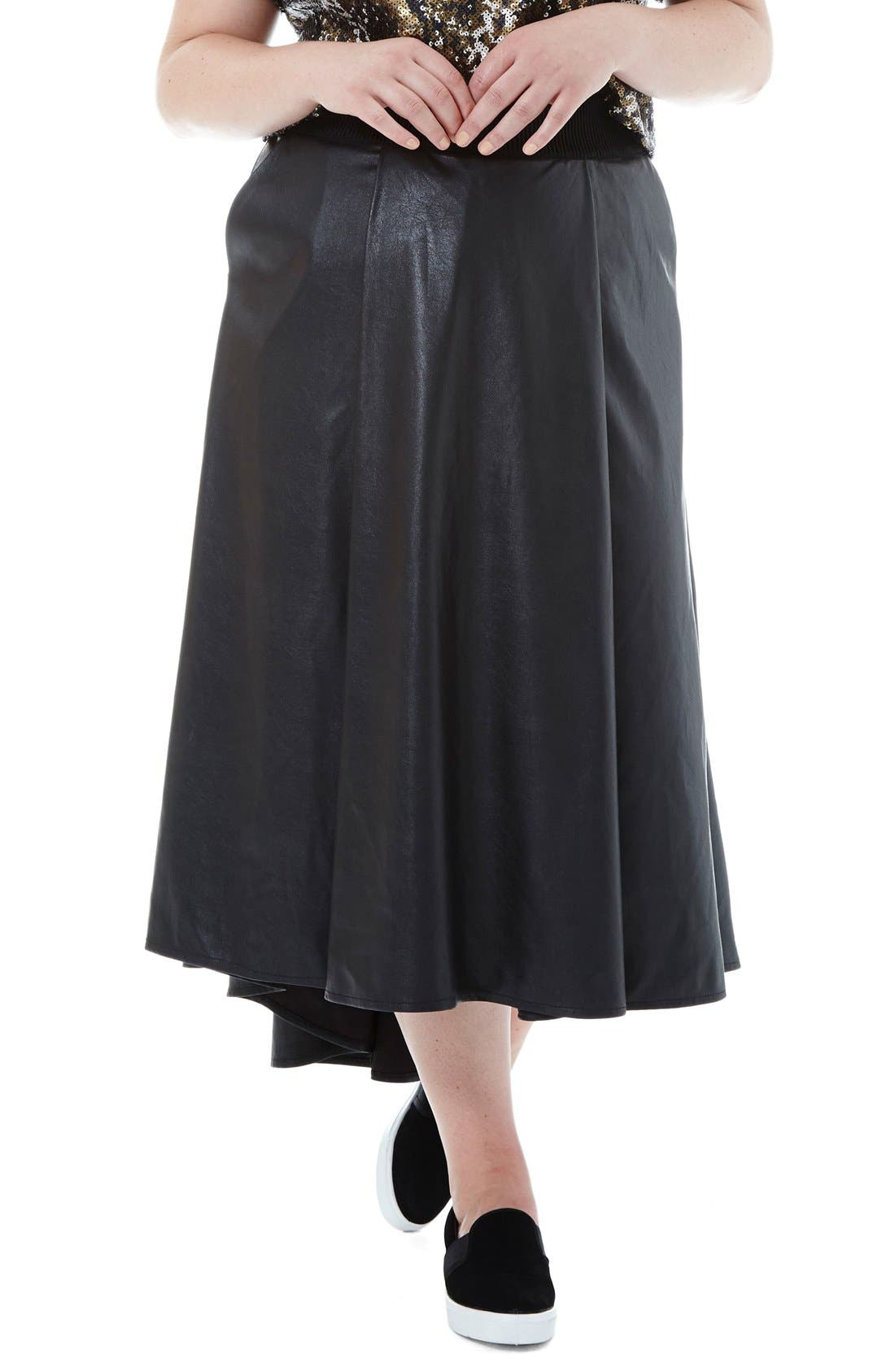 elvi faux leather high low skirt plus size nordstrom