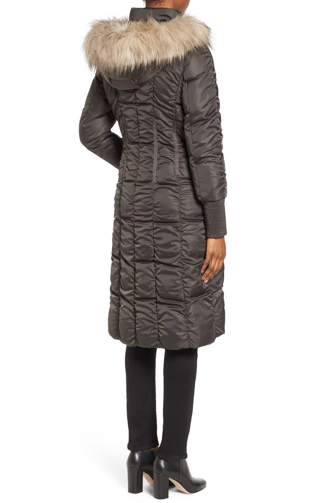 Alternate Image 2  - Tahari Elizabeth Faux Fur Trim Hooded Long Coat