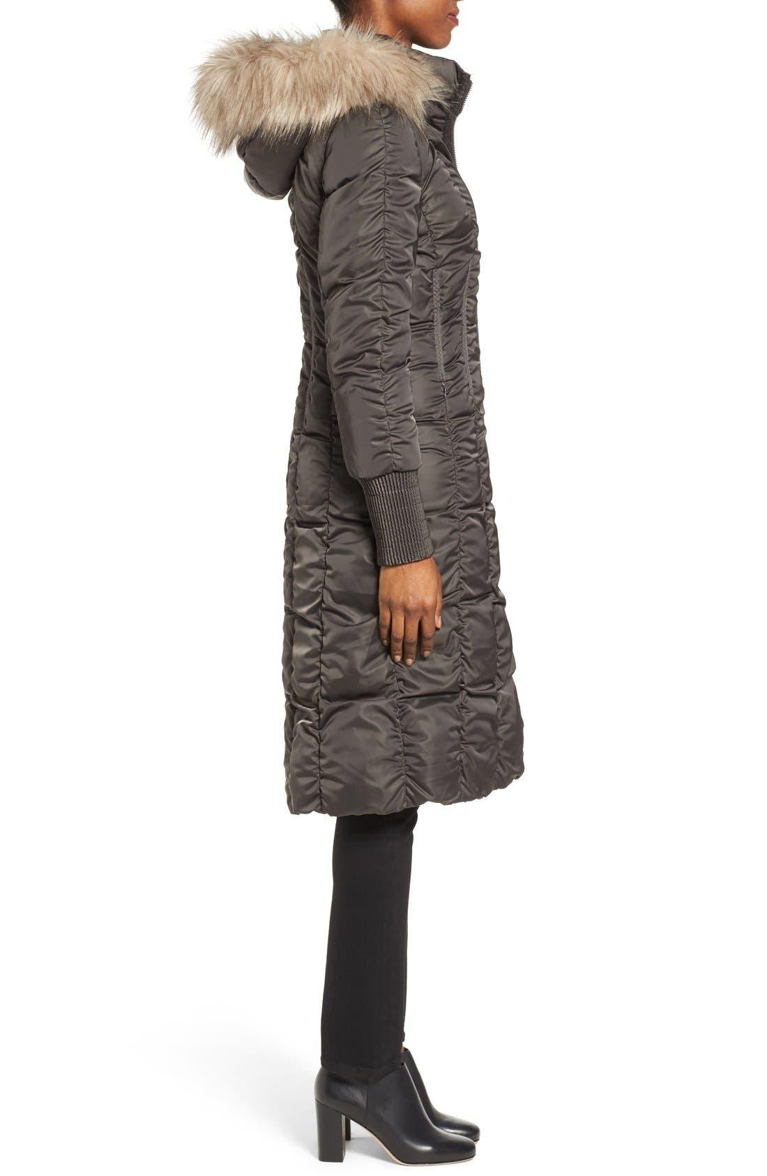 Alternate Image 3  - Tahari Elizabeth Faux Fur Trim Hooded Long Coat