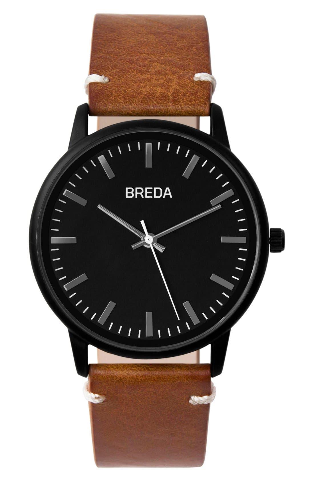 BREDA Zapf Round Leather Strap Watch, 39mm