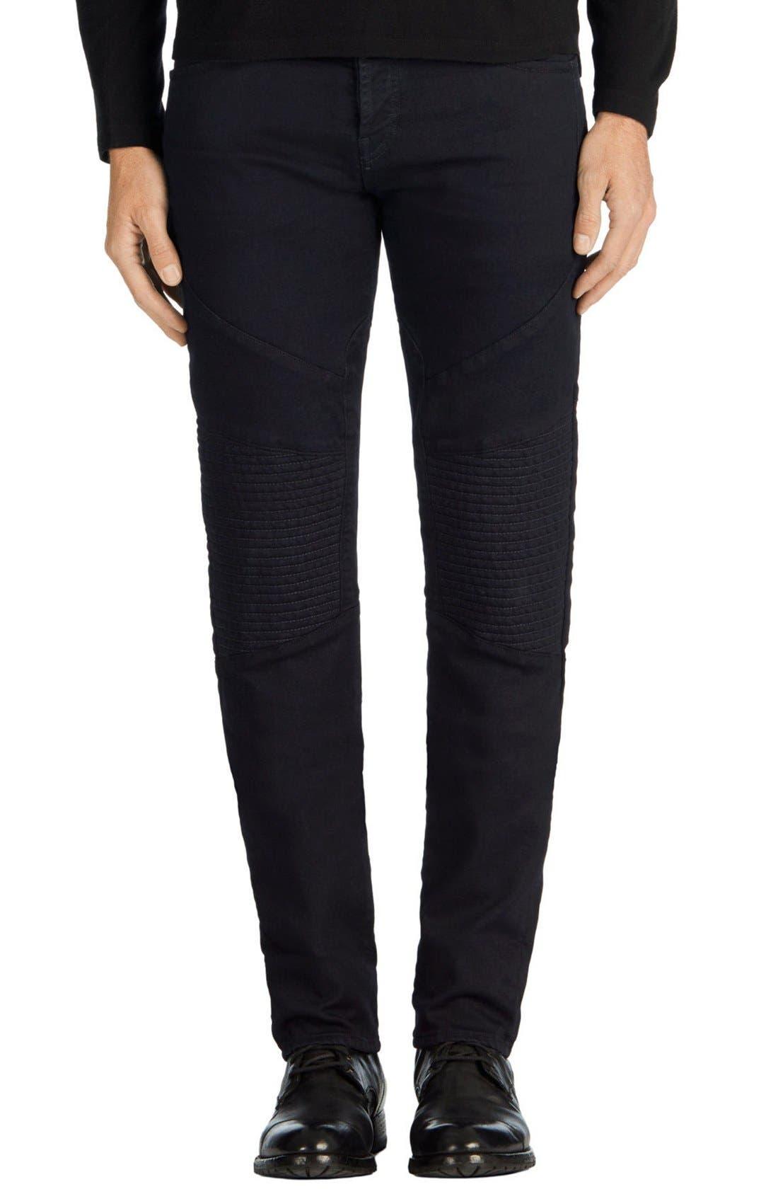 J Brand Bearden Moto Skinny Fit Jeans (Quenton Blue)