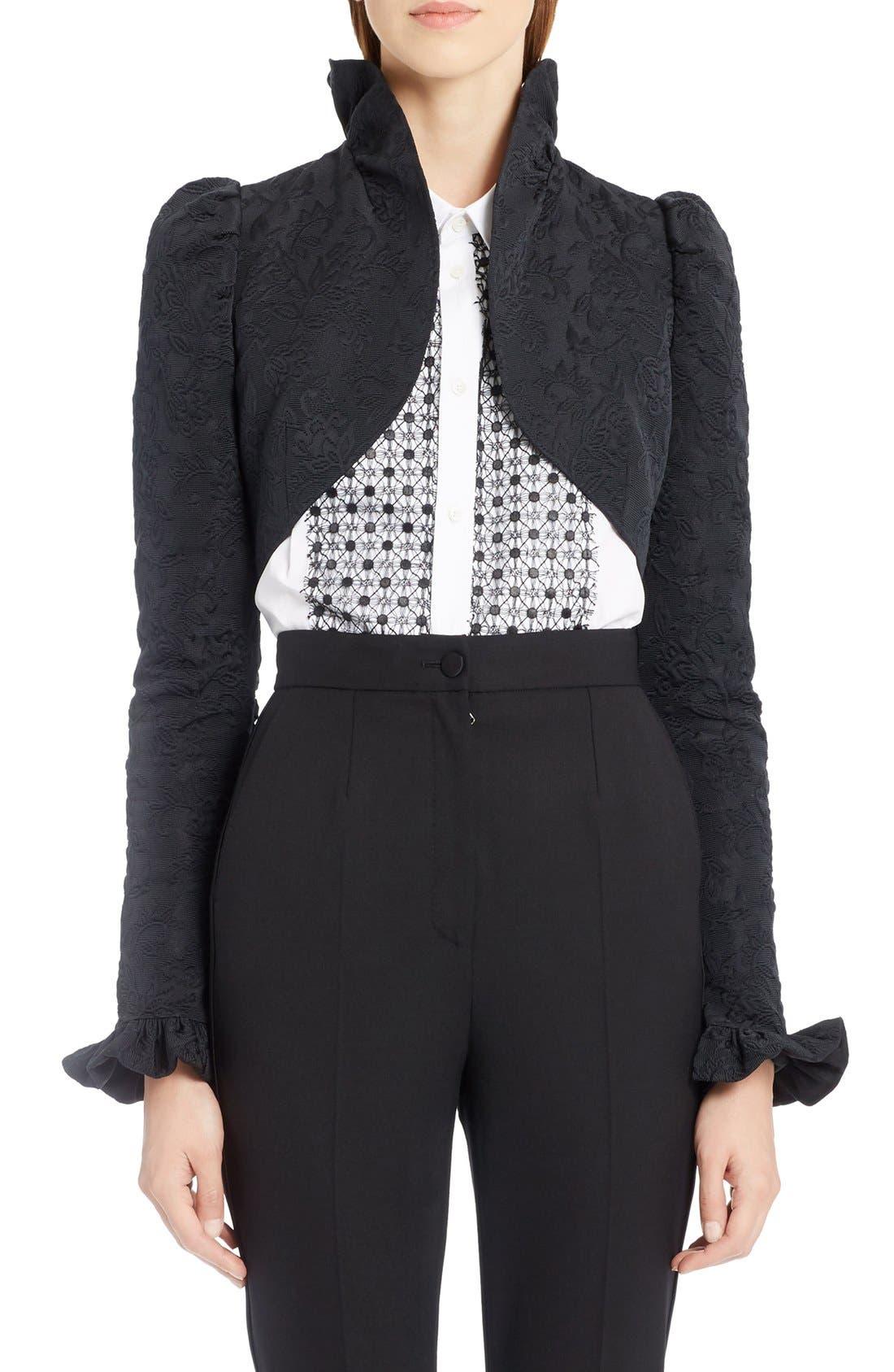 Alternate Image 1 Selected - Dolce&Gabbana Ruffle Jacquard Bolero Jacket