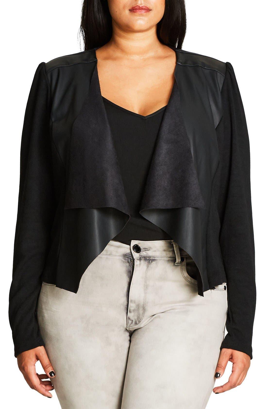 City Chic Faux Leather & Knit Drape Front Cardigan (Plus Size)