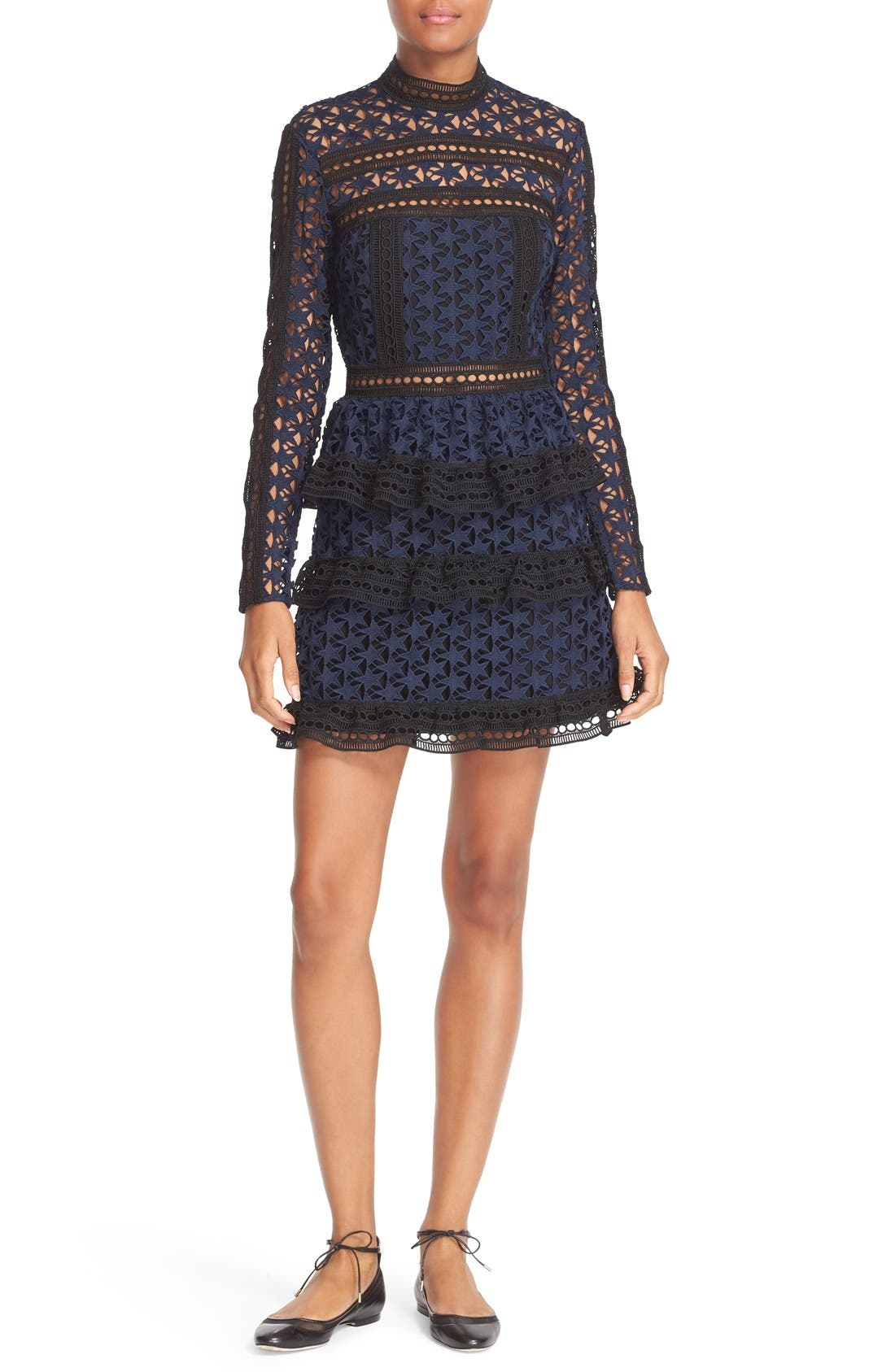 Main Image - Self-Portrait Star Lace Tiered Minidress