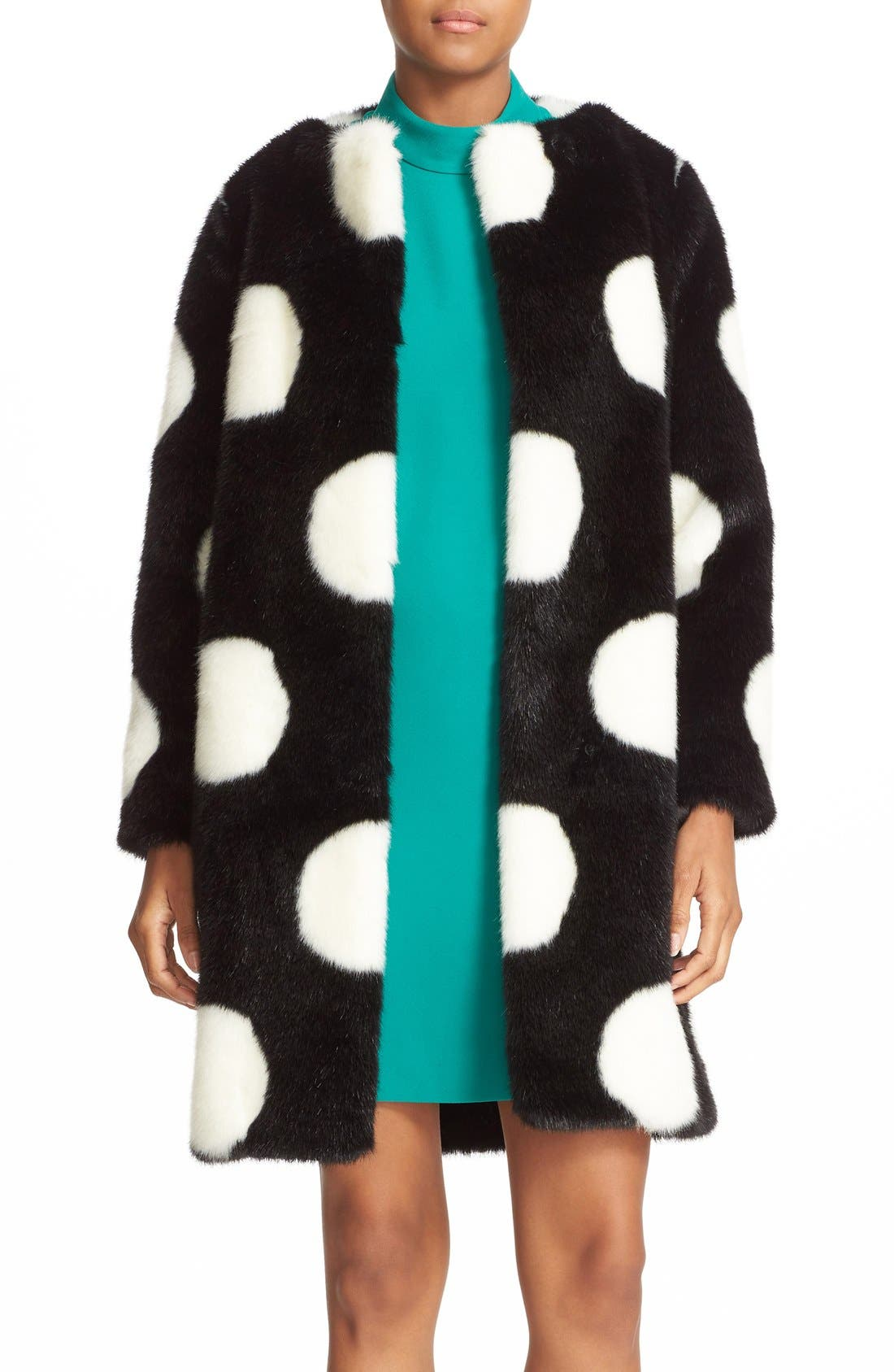 Alternate Image 1 Selected - kate spade new york polka dot faux fur coat